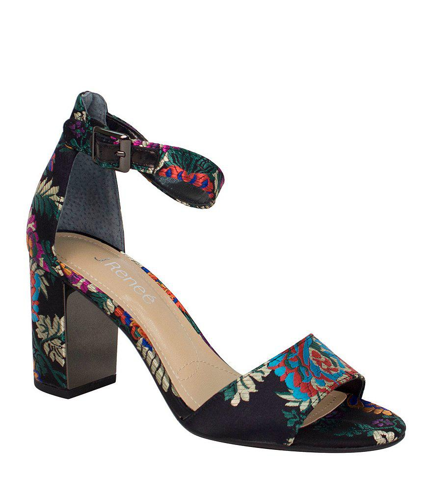 J. Renee Flaviana Floral Satin Dress Sandals JKI7FG