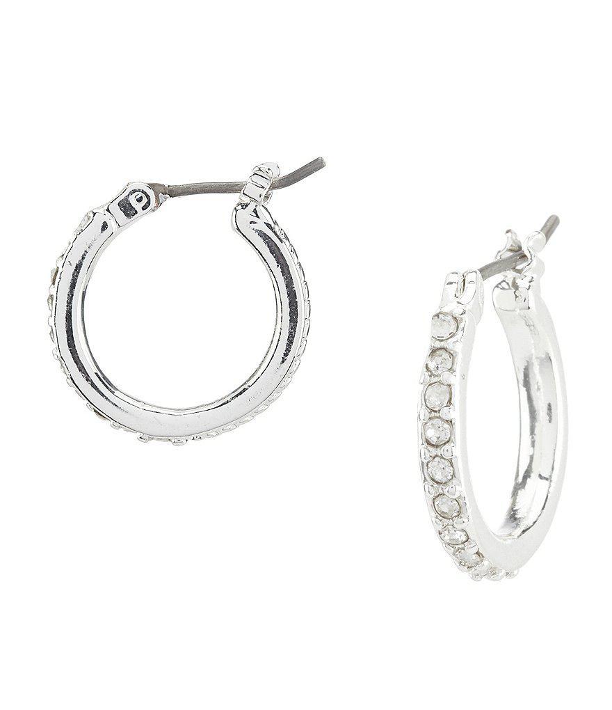 Area metallic silver small crystal hoop earrings Uff9nTk0P