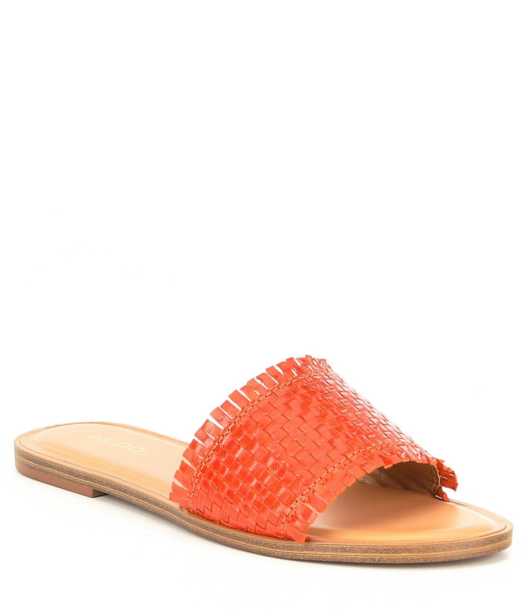 af7e5b0ef026 Lyst - ALDO Larauclya Leather Woven Flat Slides in Orange