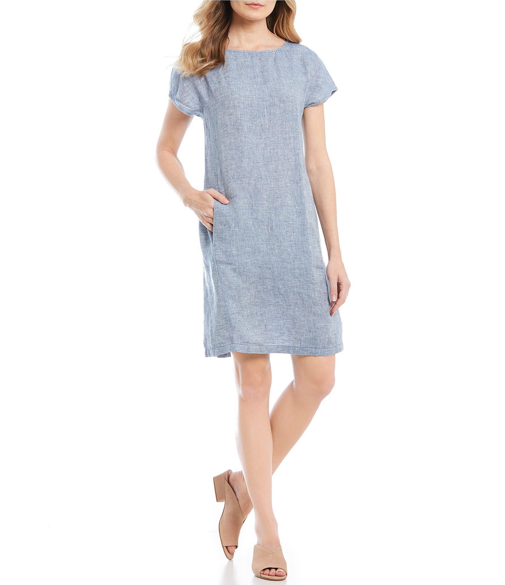 47505d2402 Eileen Fisher. Women s Blue Bateau Neck Short Sleeve Pocketed Shift Dress