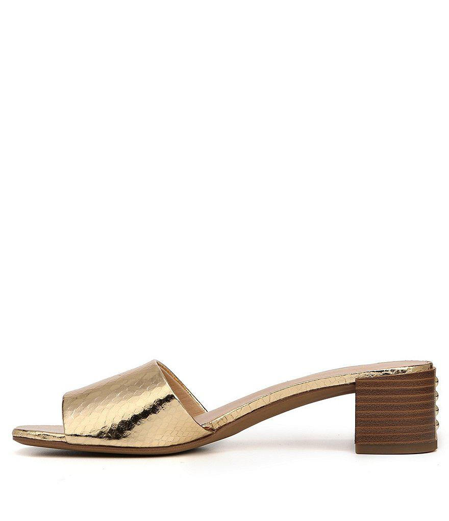 Ramy Metallic Block Heel Slides iw73830