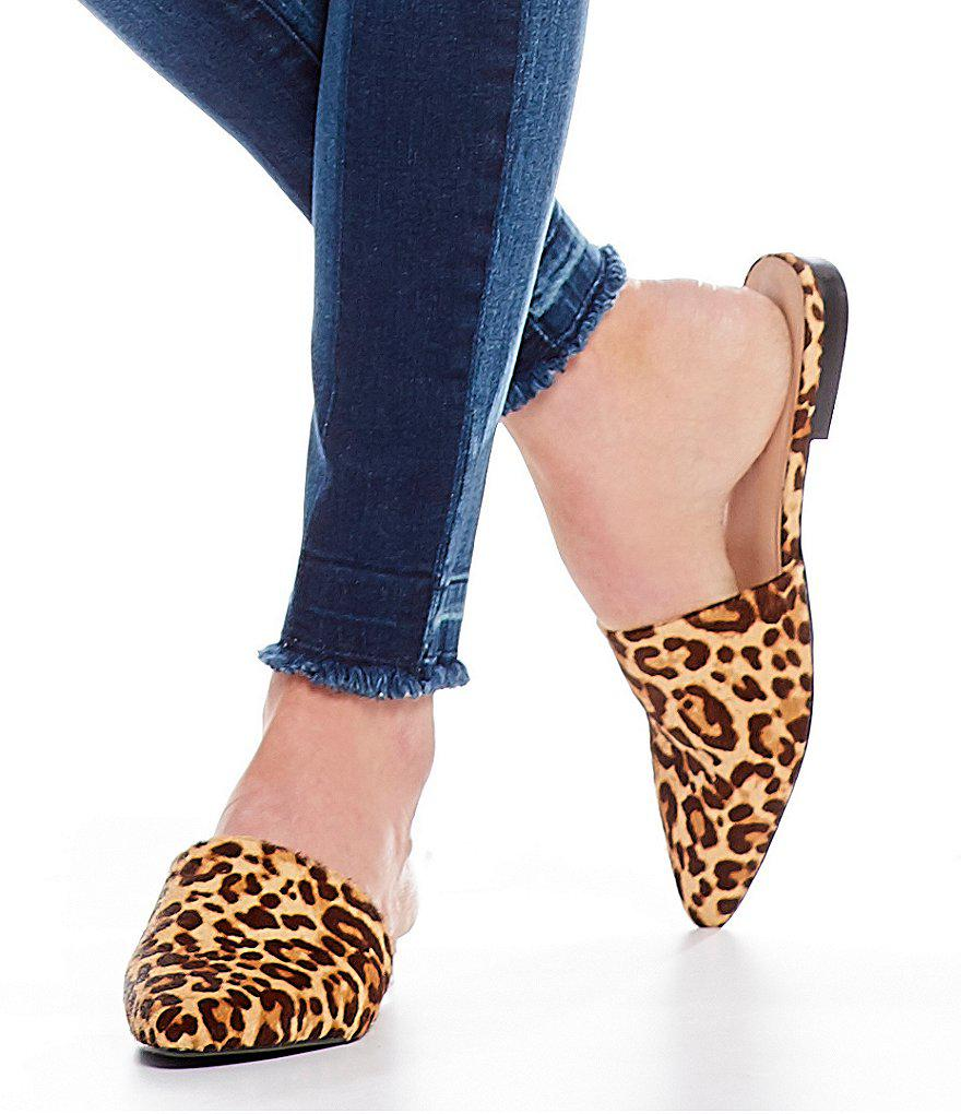 7212d5090bf Steve Madden Trace Leopard Pony Hair Mules in Brown - Lyst