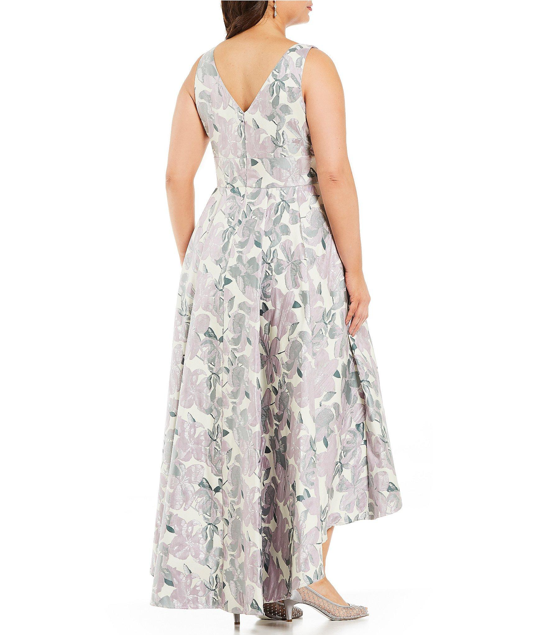 3ff222a54f Eliza J - Multicolor Plus Size Floral Print Jacquard V-neck Hi-low Gown.  View fullscreen