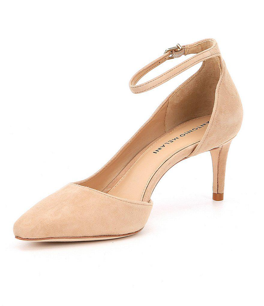 f43793160b31 Lyst - Antonio Melani Marchela Suede Ankle Strap Pumps in Natural