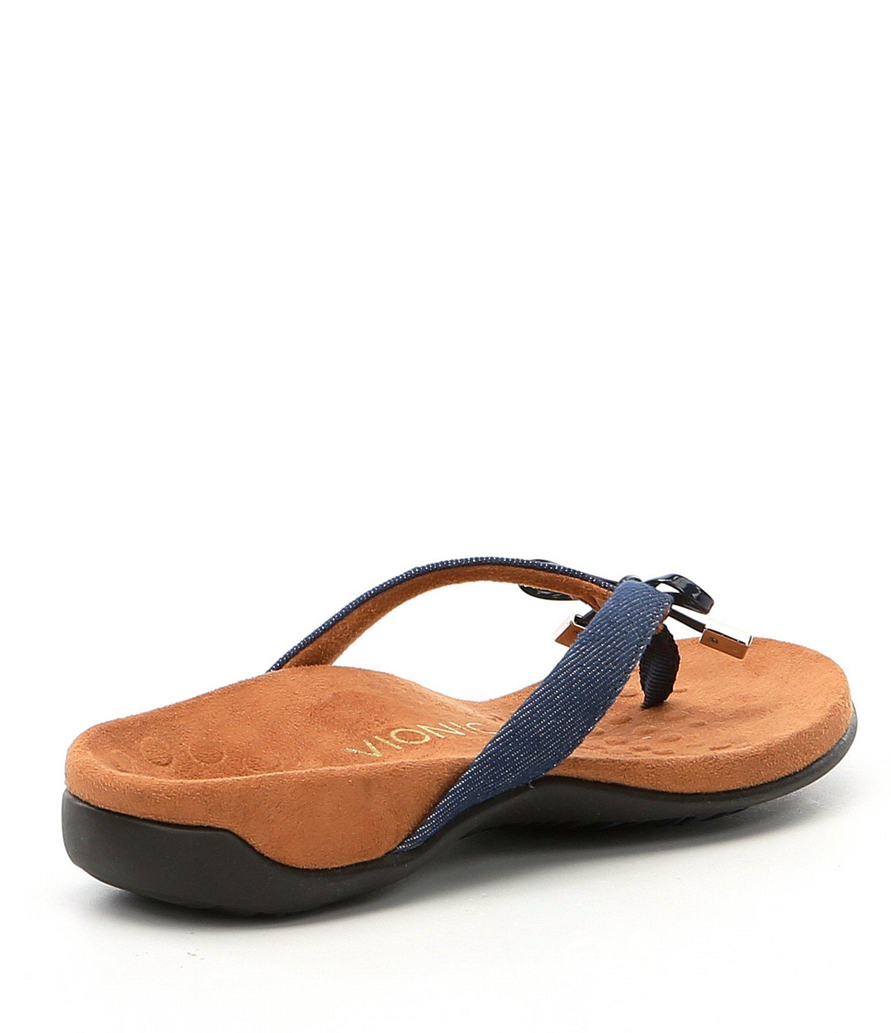 0678fa0066d8 Vionic - Blue Bella Ii Bow Detail Denim Flip-flops - Lyst. View fullscreen