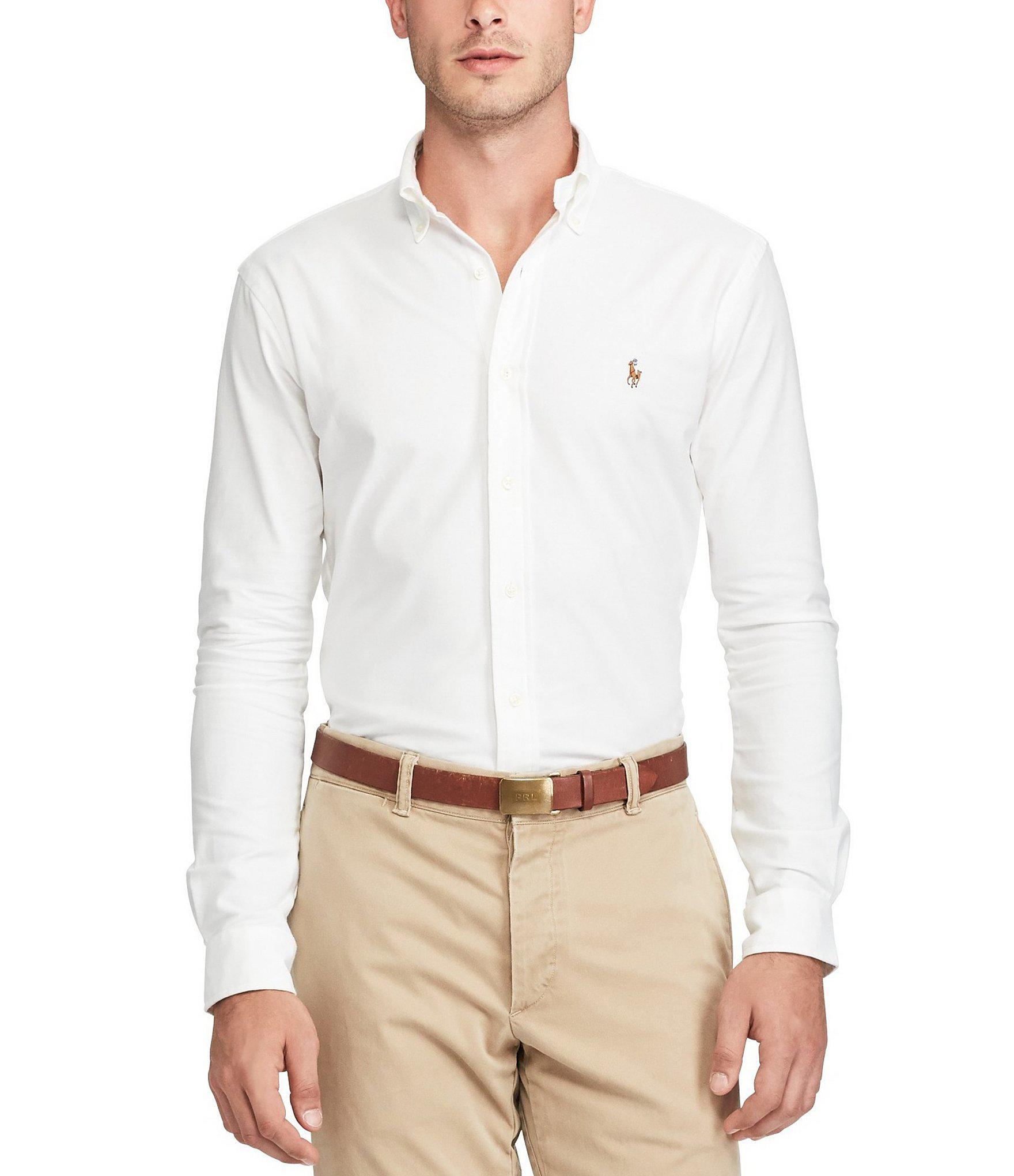 f488c3b2 Polo Ralph Lauren. Men's Blue Slim-fit Solid Stretch Oxford Long-sleeve  Woven Shirt