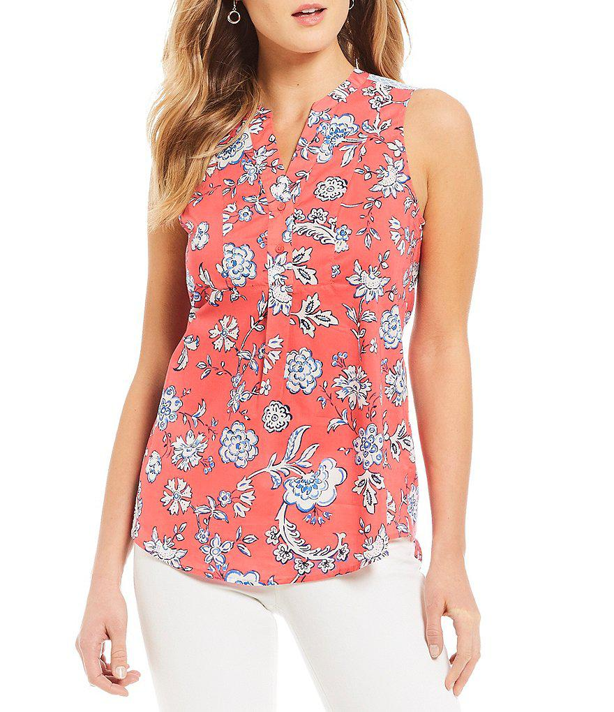 5c353c20a2944 Joules Zinnia Sleeveless Floral Print Blouse in Red - Lyst