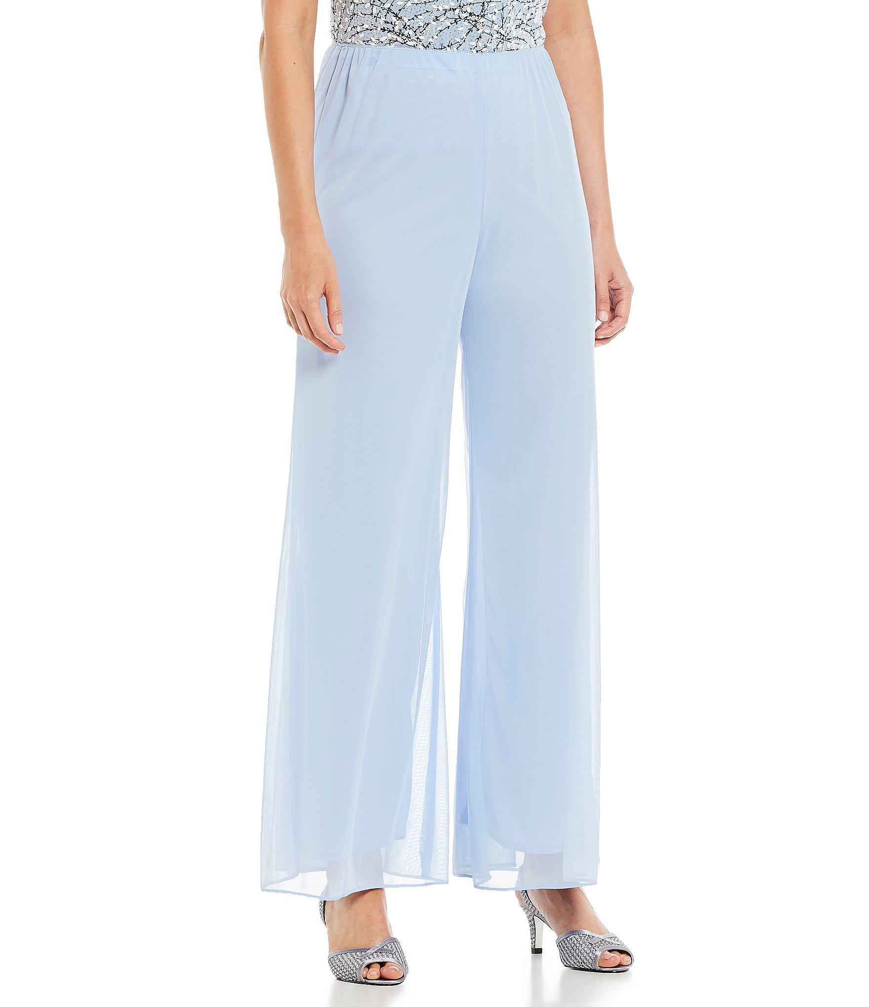 00e44f816f2 Lyst - Alex Evenings Chiffon Mesh Wide Leg Pants in Blue