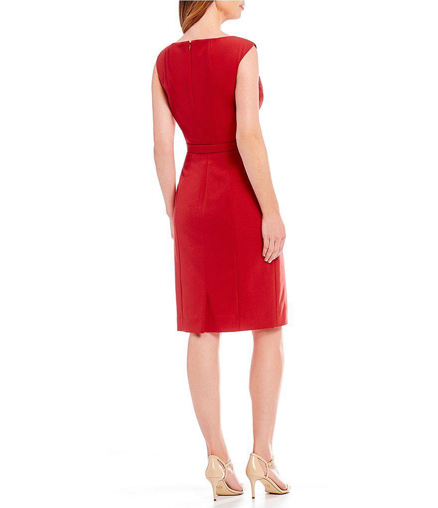 fccfcee6 Lyst - Tahari Bi-stretch Woven Cap Sleeve Belted Sheath Dress in Red