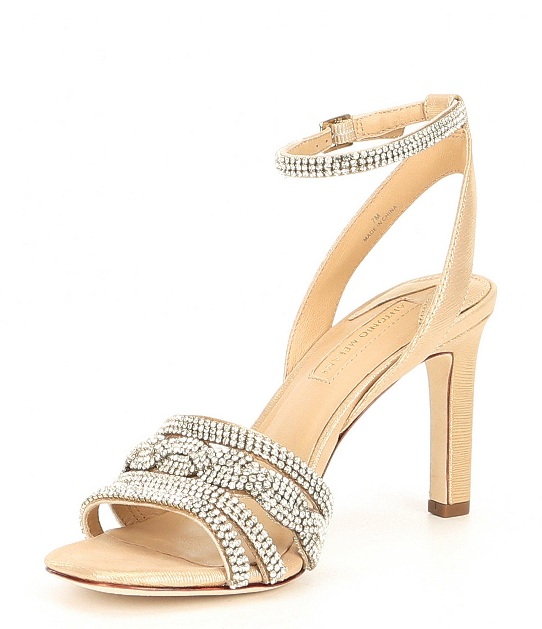3b34e959e Antonio Melani - Petrina Metallic Leather   Rhinestone Dress Sandals - Lyst.  View fullscreen