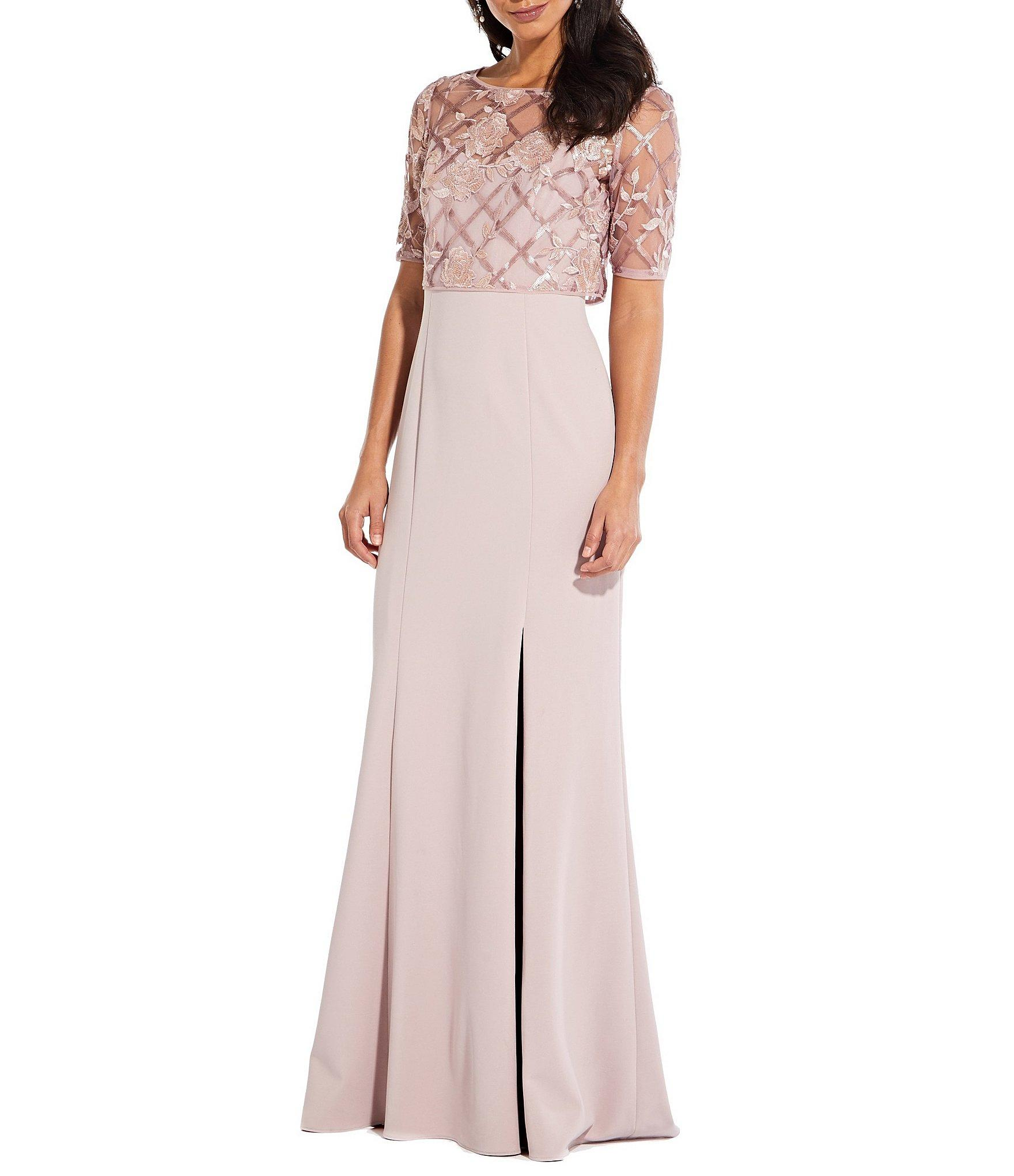 35646467765 Adrianna Papell - Pink Sequin Pop Over Crepe Gown - Lyst. View fullscreen