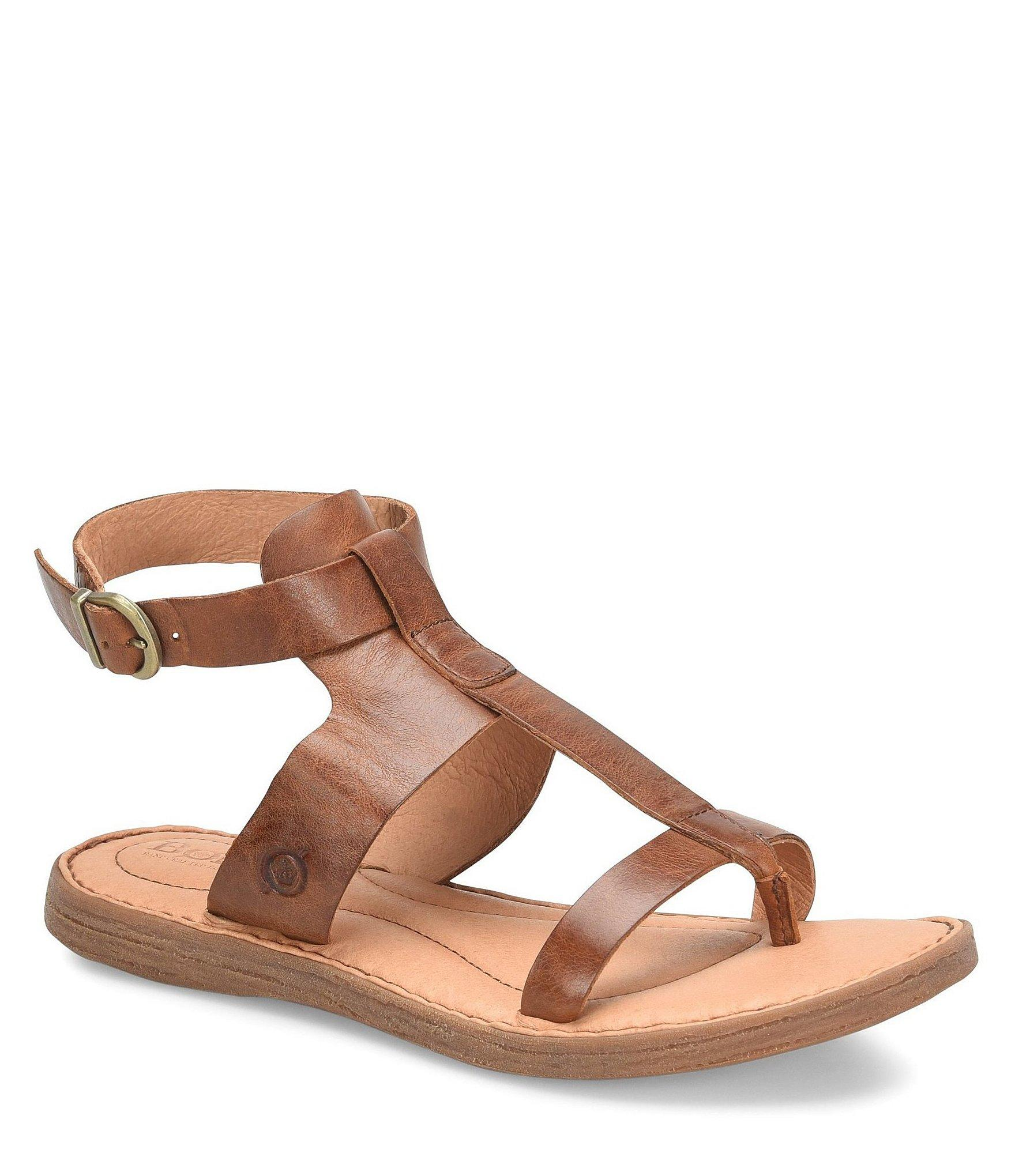 57bcc6f74b50 Lyst - Born St Helens Leather Gladiator Thong Sandals in Brown