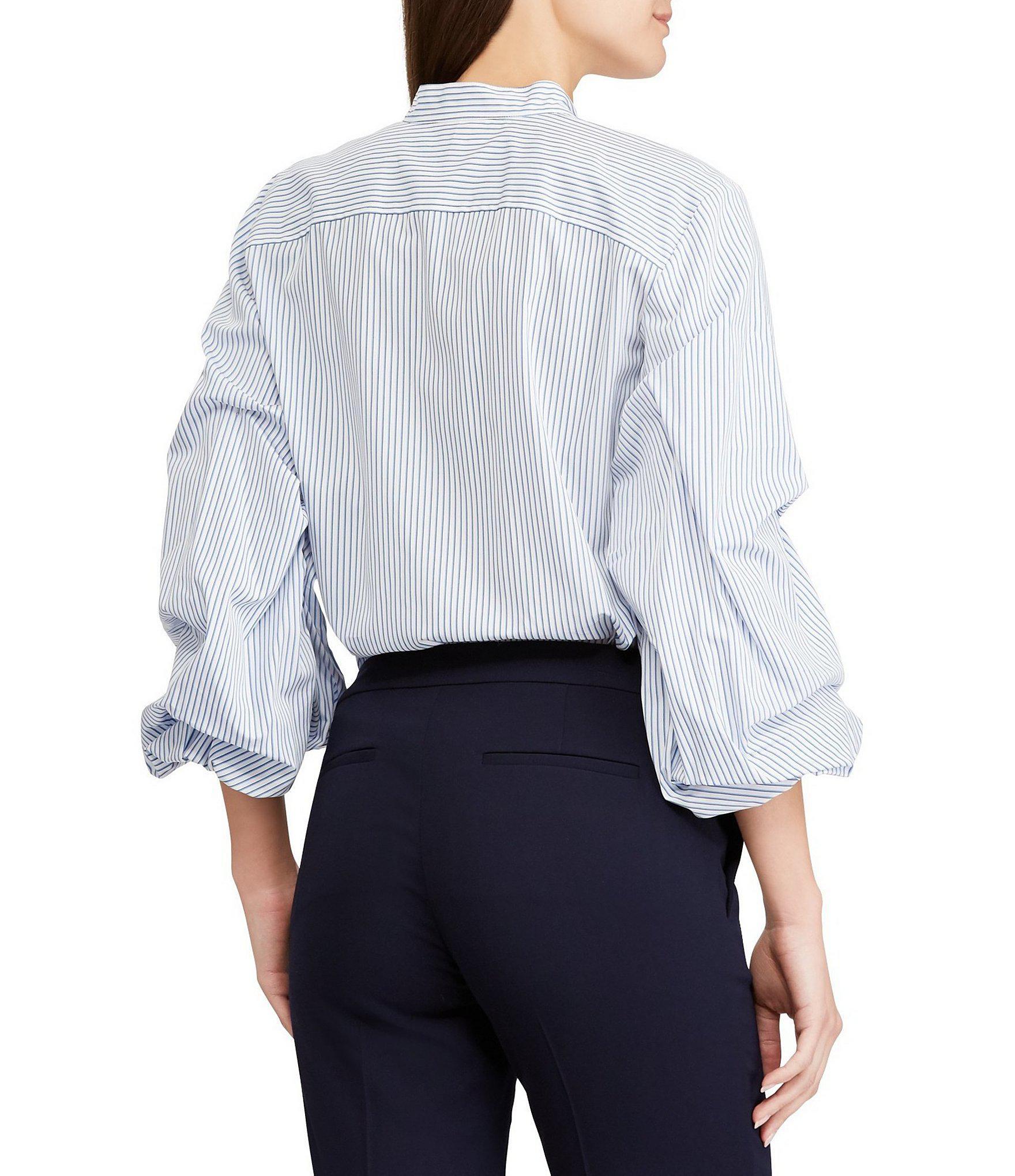 0dcc32f6e69 Lyst - Lauren by Ralph Lauren Tiered Puffed-sleeve Cotton Shirt in Blue