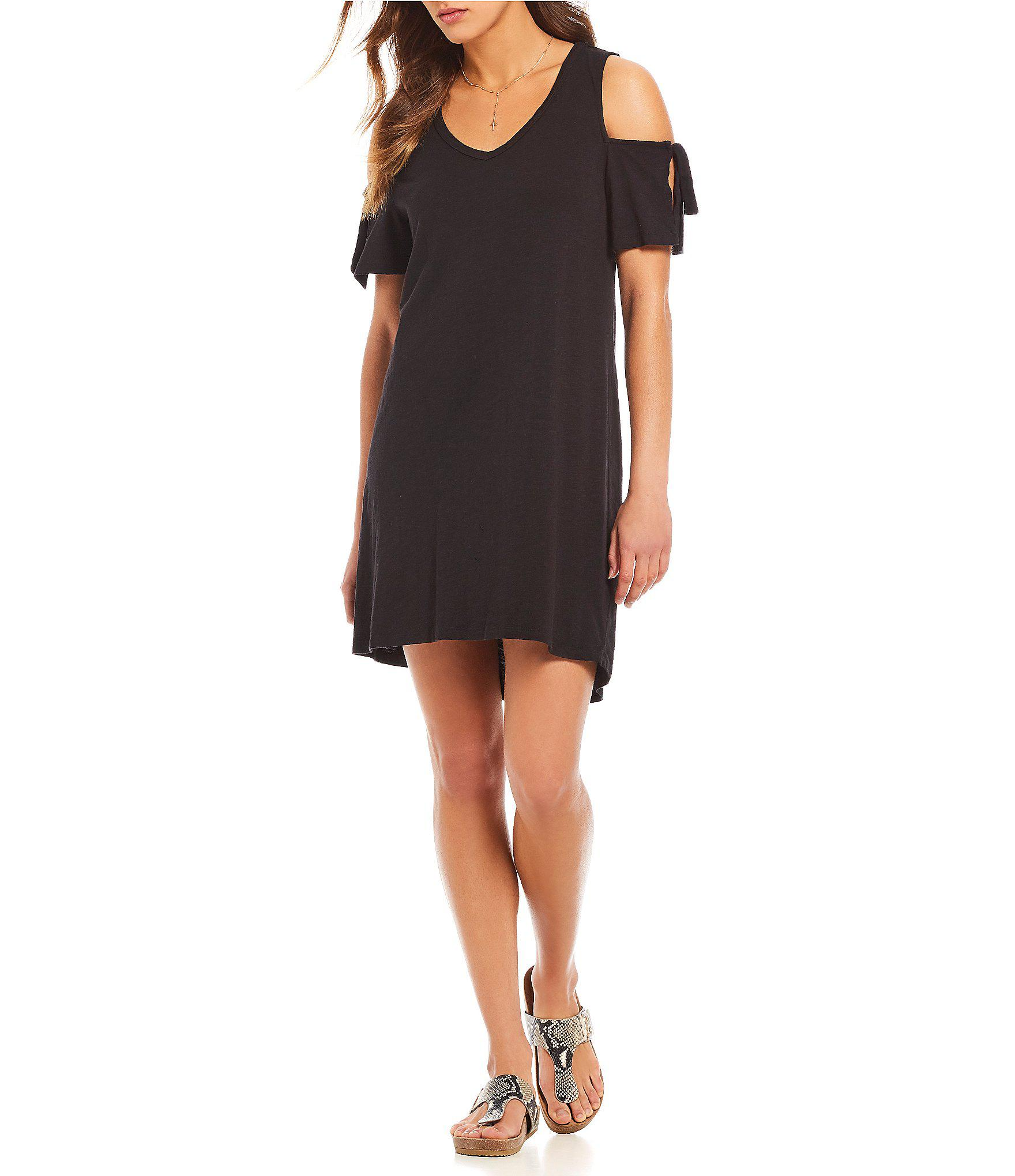 84180f9afa7eb Lyst - Sanctuary Lakeside Cold Shoulder Tie Sleeve T-shirt Dress in ...