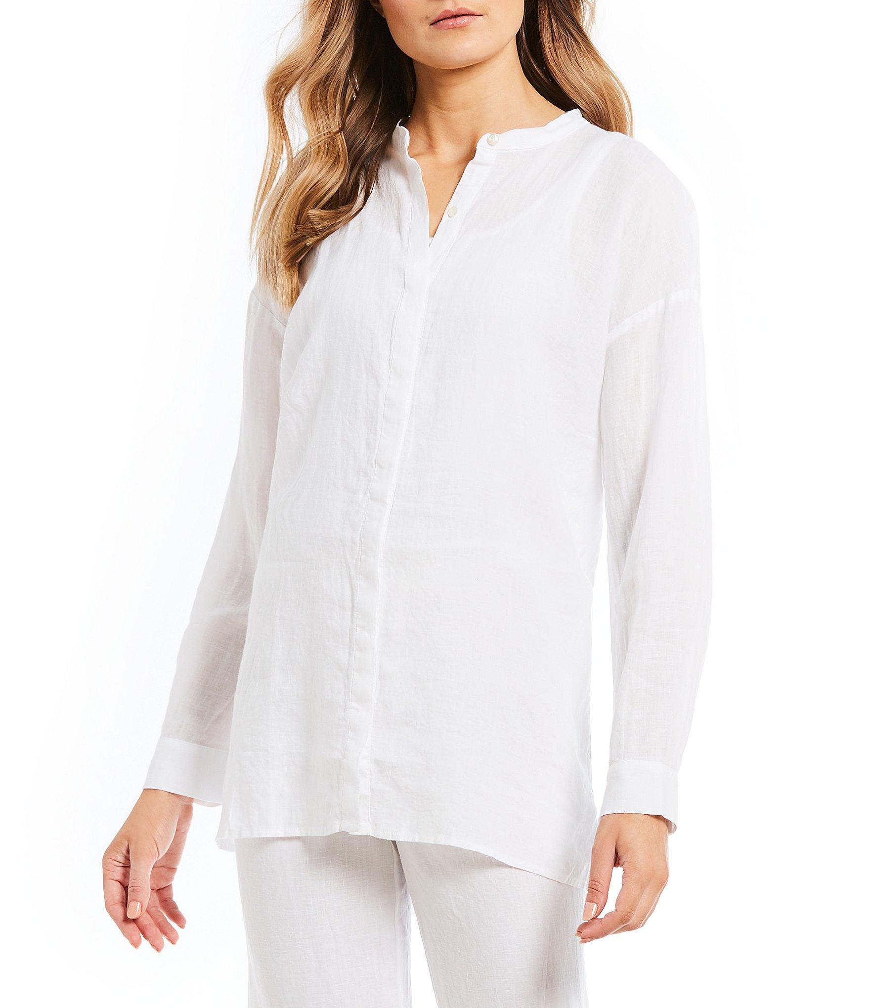 f66adf49891 Eileen Fisher. Women's White Petite Size Mandarin Collar Button Front Tunic  Shirt