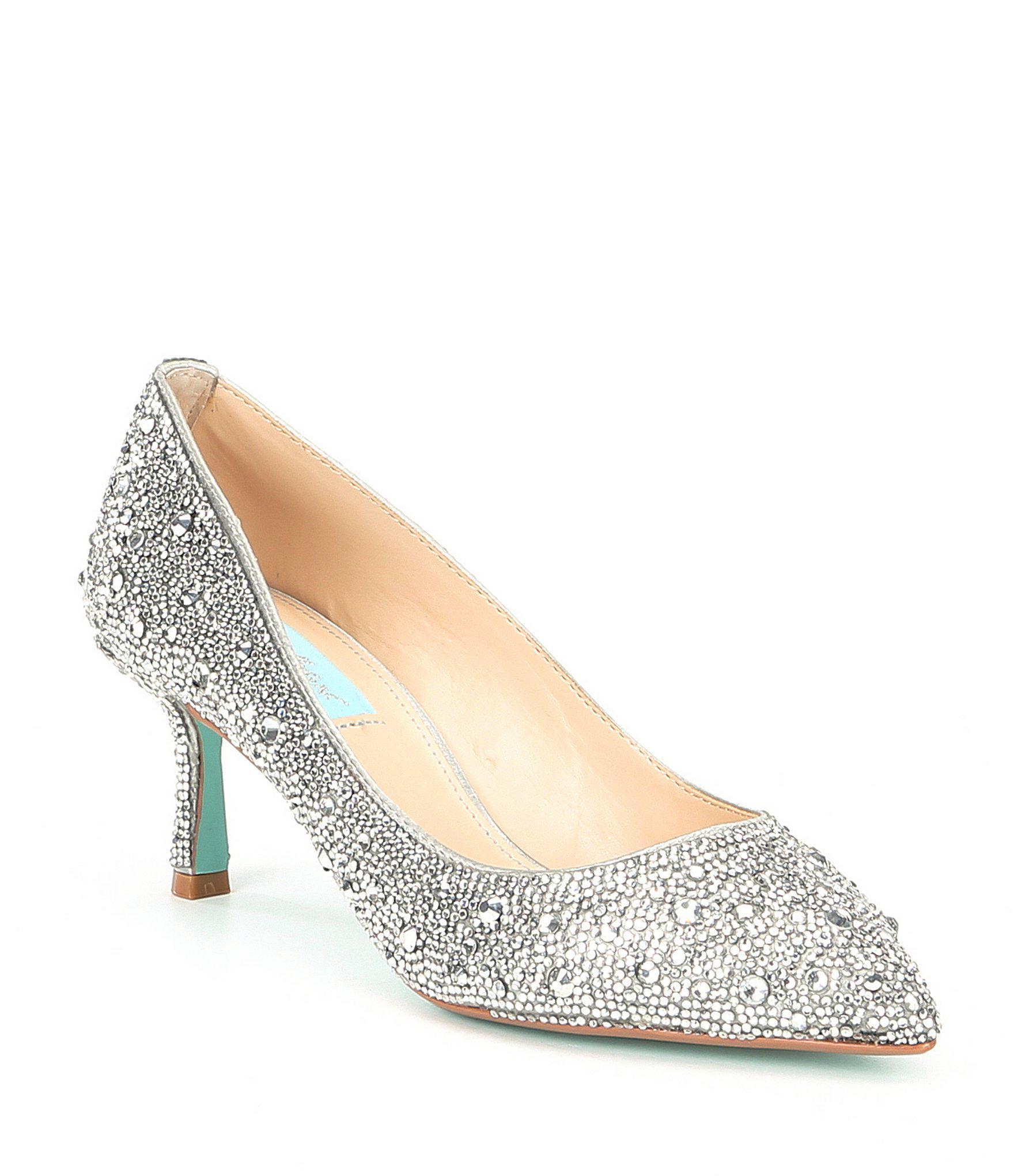 5f209c02e33 Lyst - Betsey Johnson Blue By Jora Glitter Jeweled Kitten Heel Pumps ...