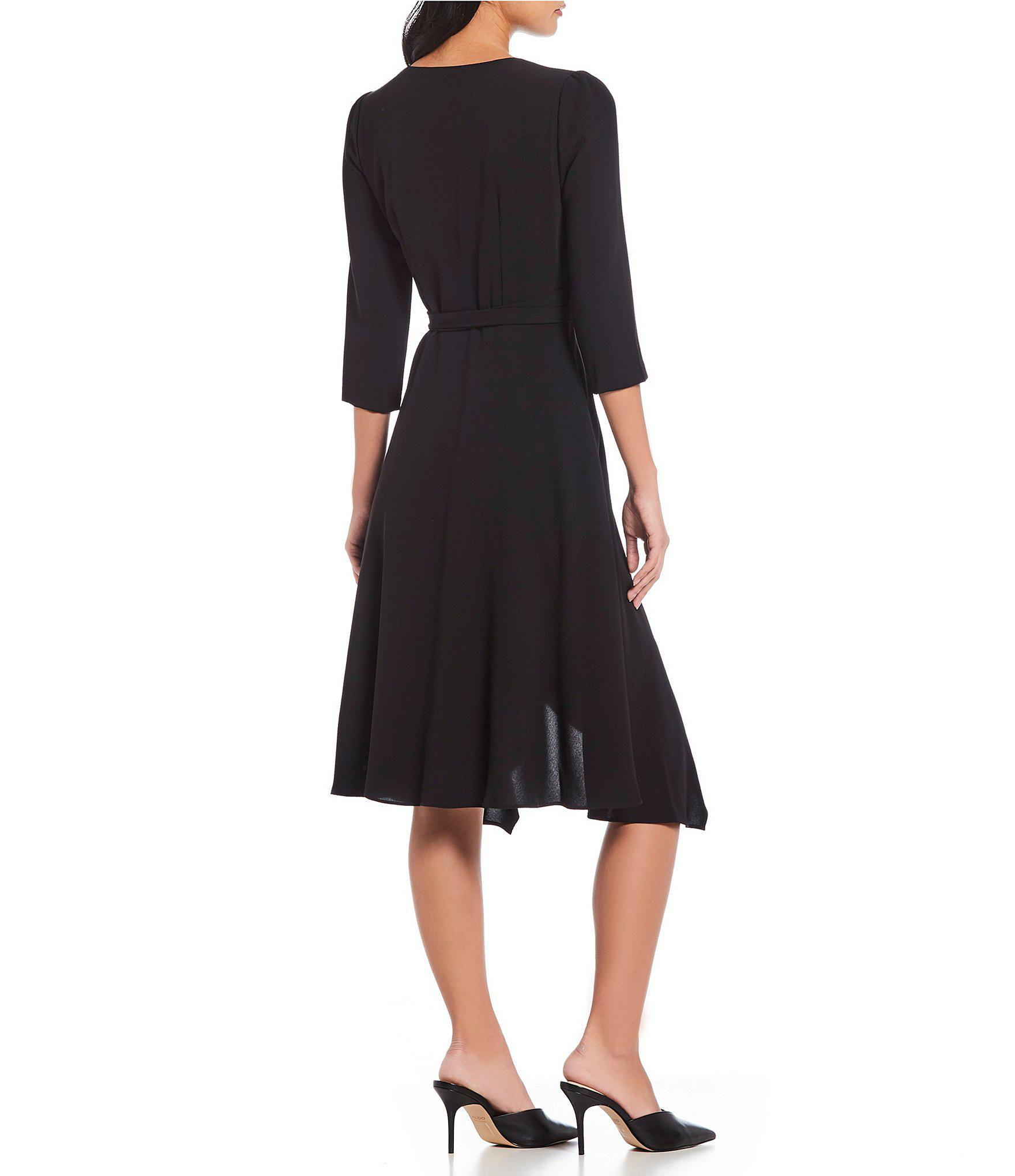 a35082ee943 Adrianna Papell - Black Crepe Tie Front Wrap Dress - Lyst. View fullscreen