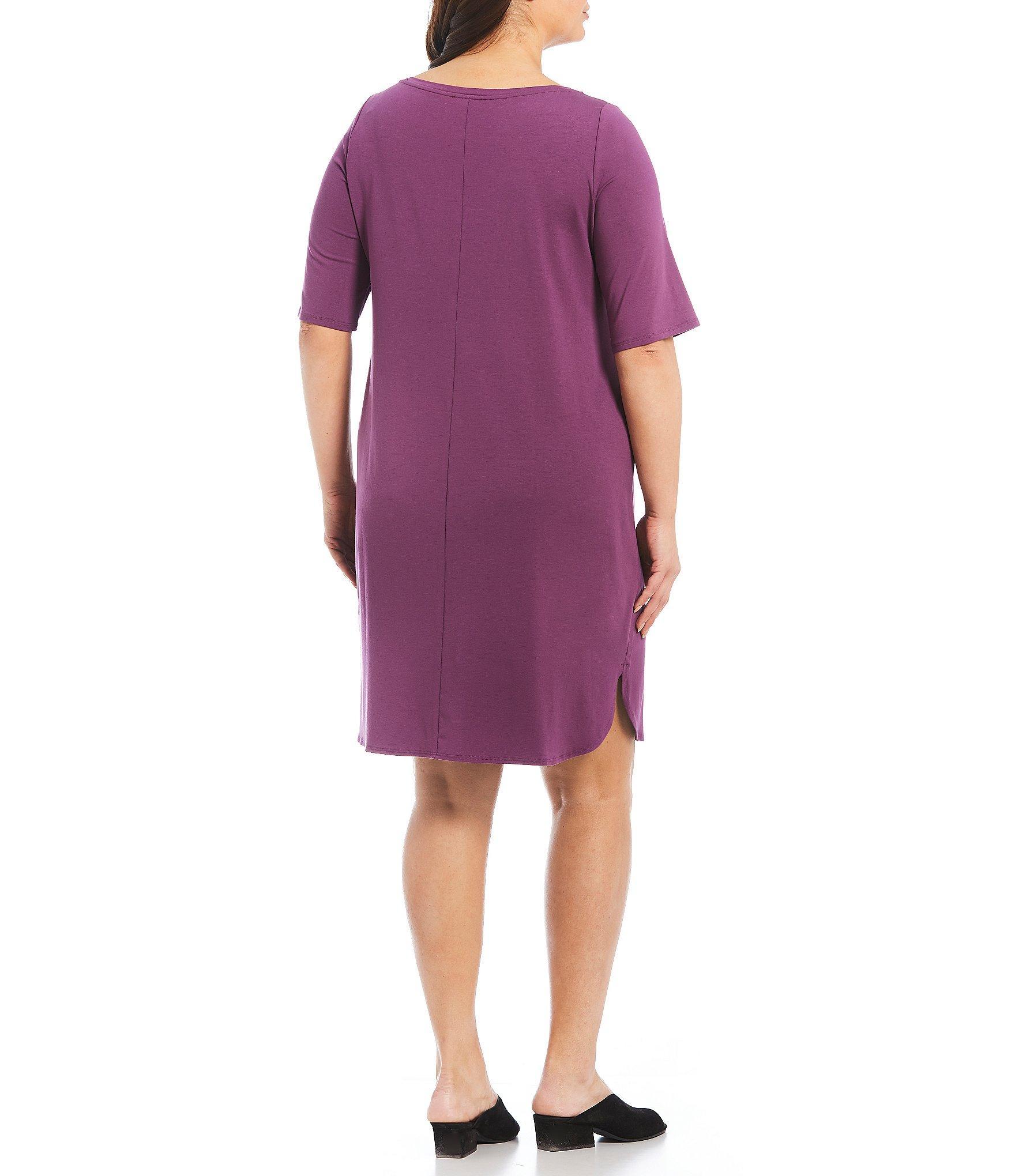5bc13e0065e Eileen Fisher - Purple Plus Size Bateau Neck Shirttail Hem Dress - Lyst.  View fullscreen