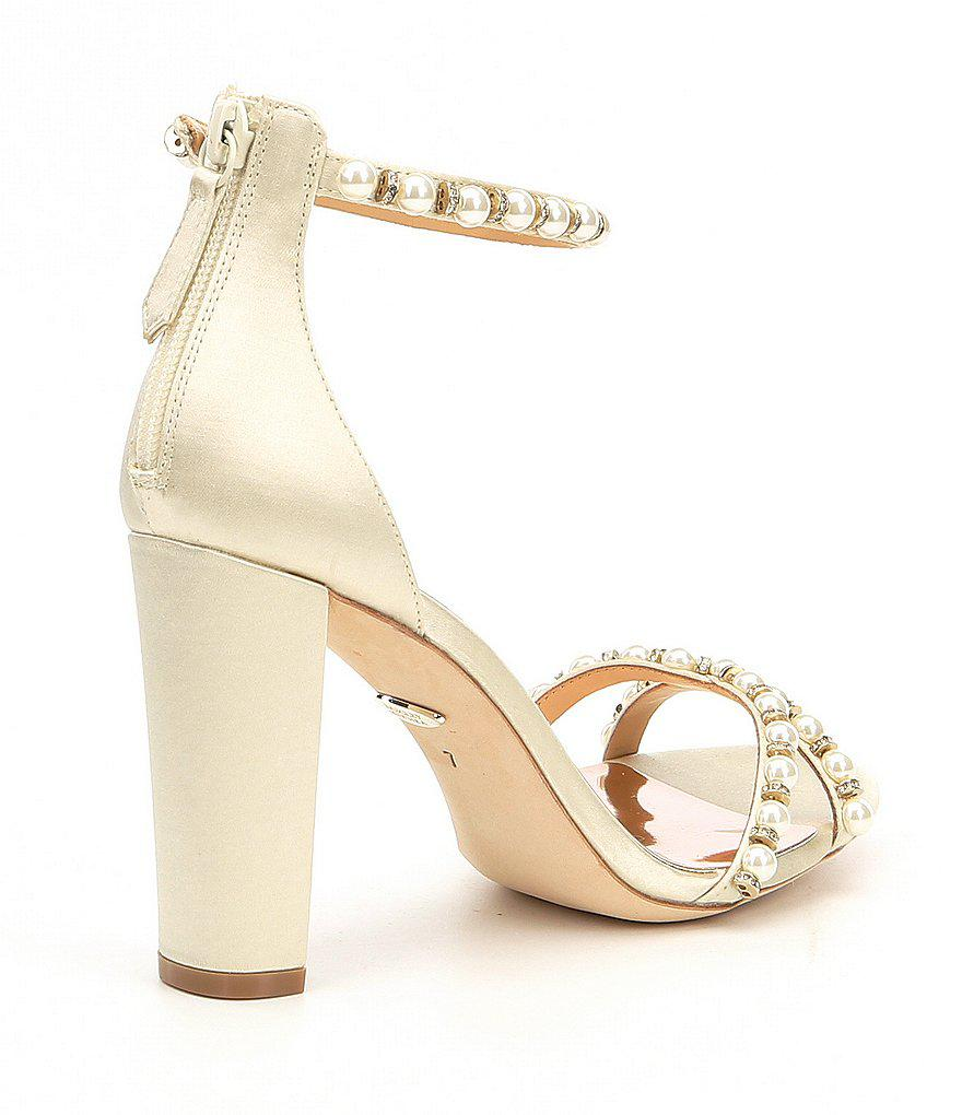 Hooper Satin Pearl Detail Block Heel Dress Sandals