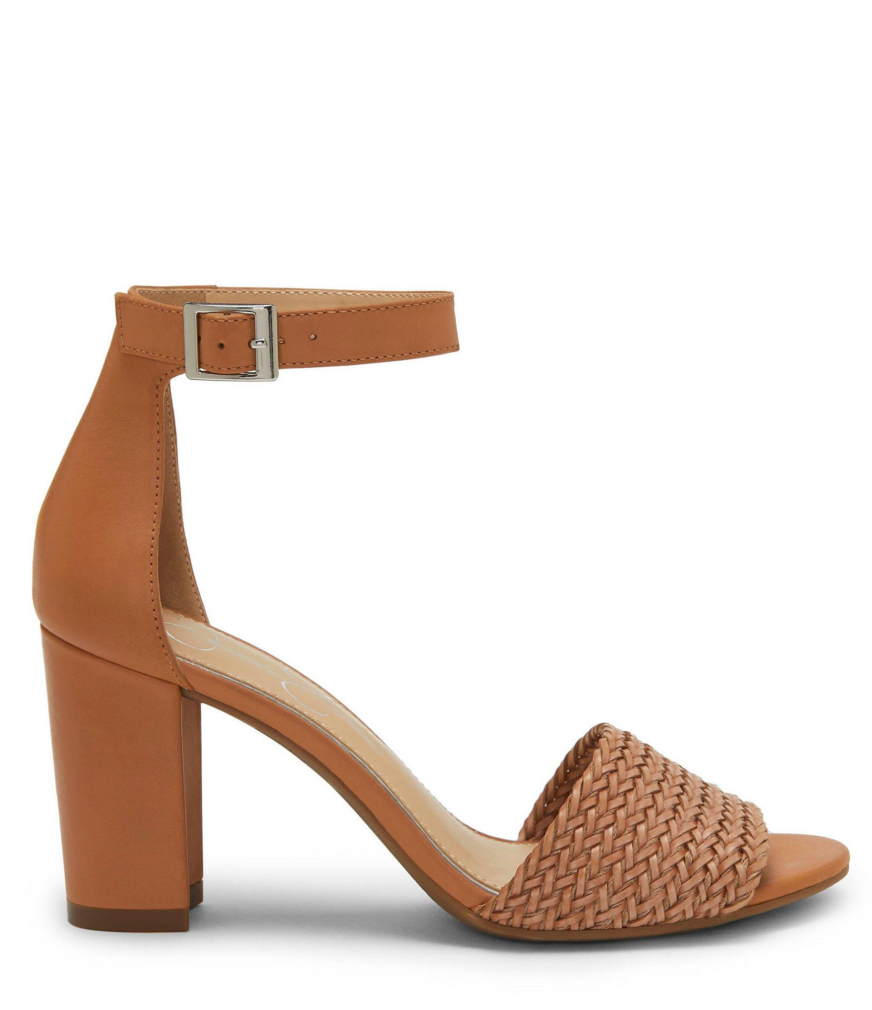 a293482c8d6e Jessica Simpson - Brown Sherron4 Woven Ankle Strap Block Heel Sandals - Lyst.  View fullscreen