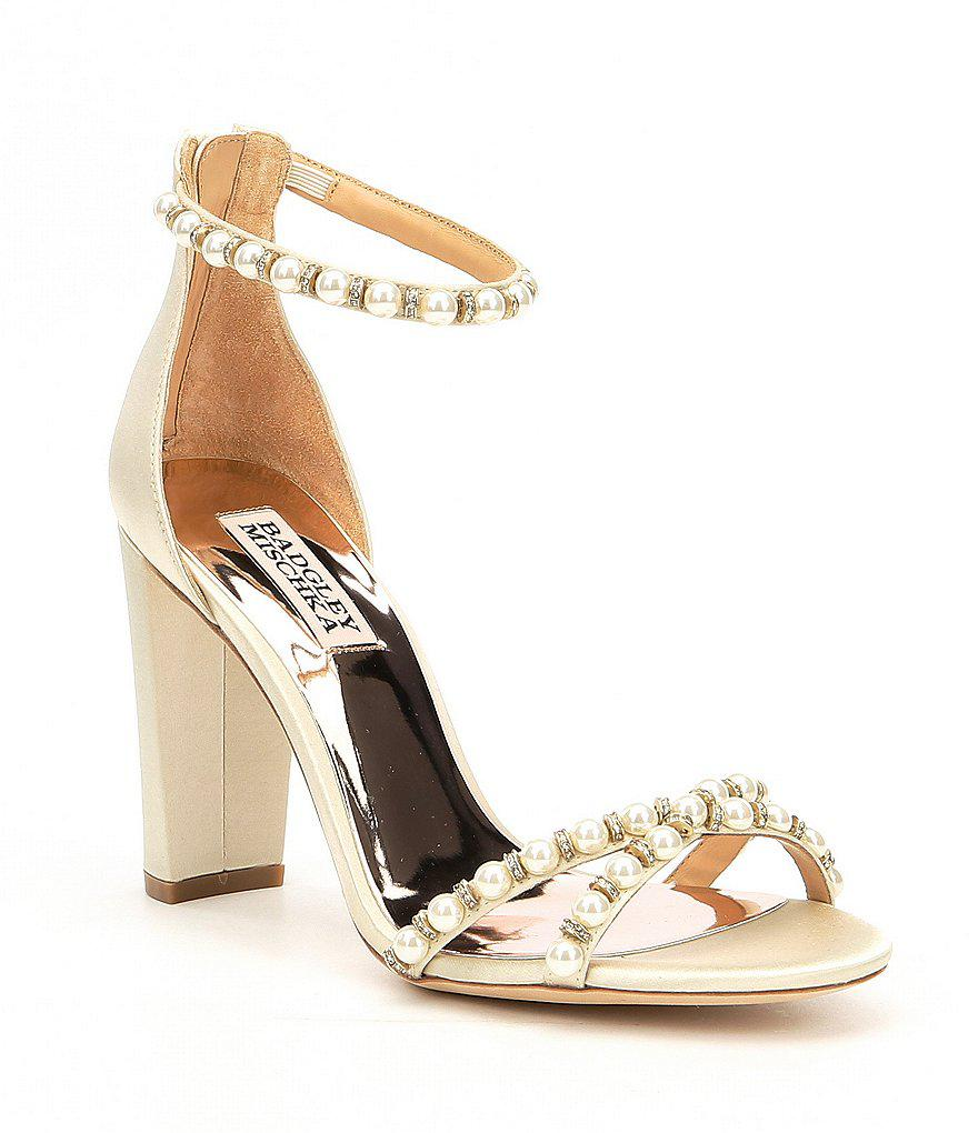 d2b451a73ae1 Lyst - Badgley Mischka Hooper Satin Pearl Detail Block Heel Dress ...
