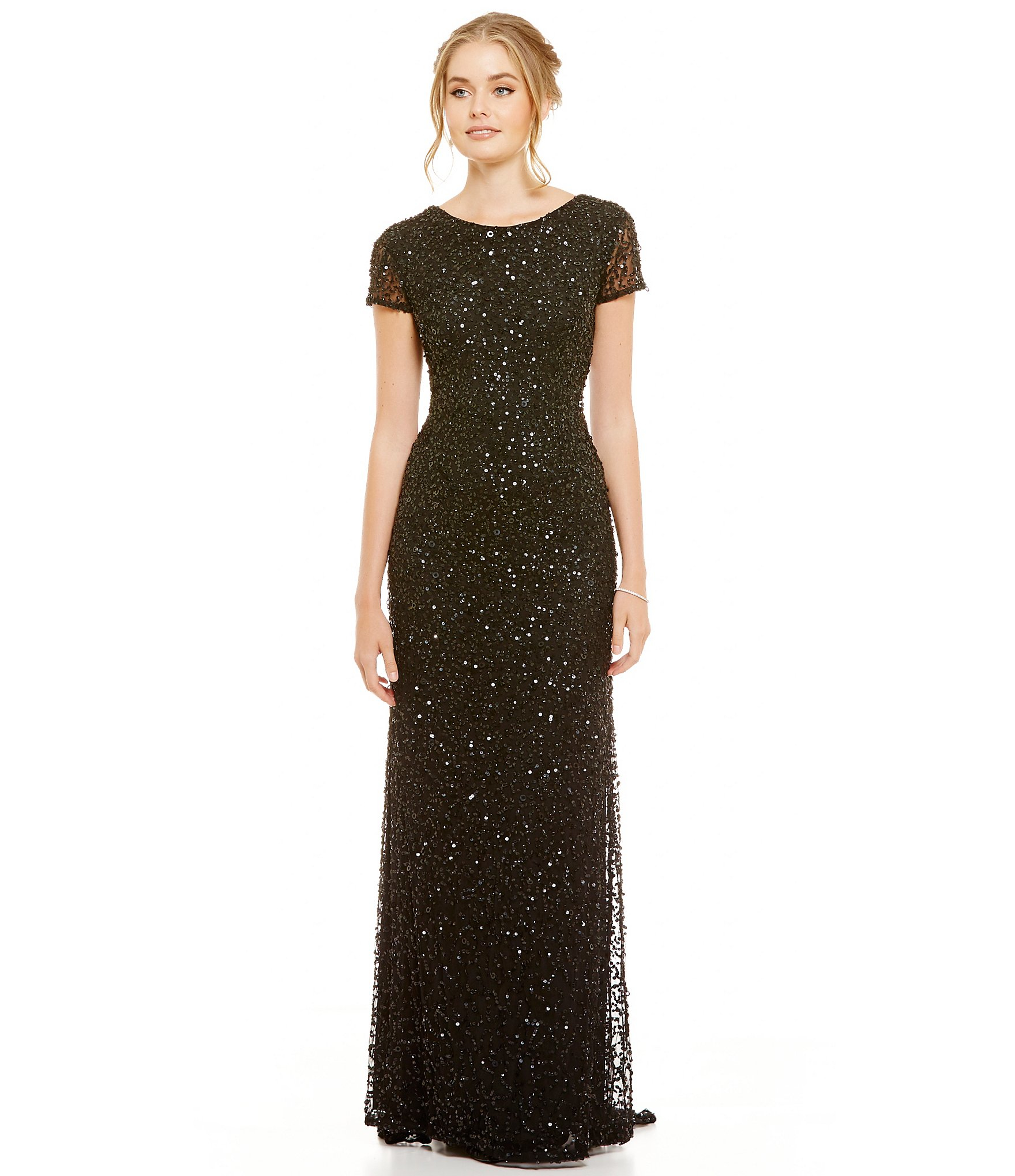 Adrianna papell Short sleeve Sequined Long Skirt Gown in