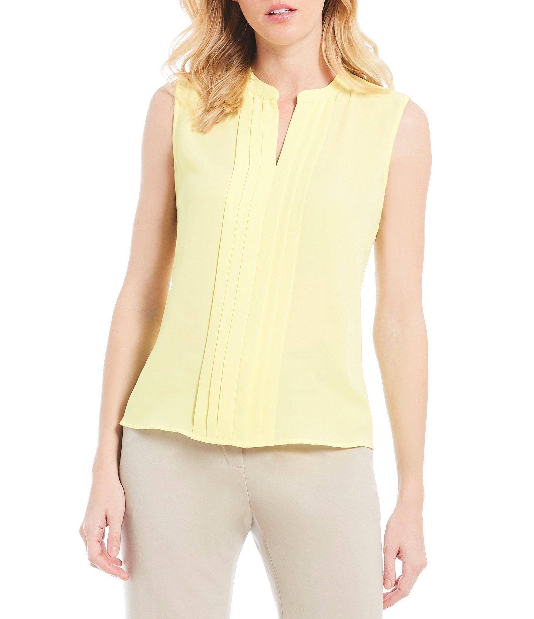 3fd4874a3 Lyst - Calvin Klein Split V-neck Pleated Front Sleeveless Top in Yellow