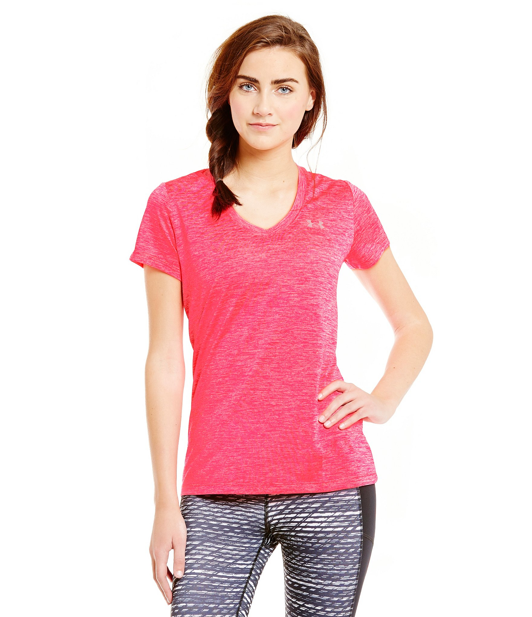 Lyst under armour twisted tech tee in pink for Under armour women s twisted tech t shirt