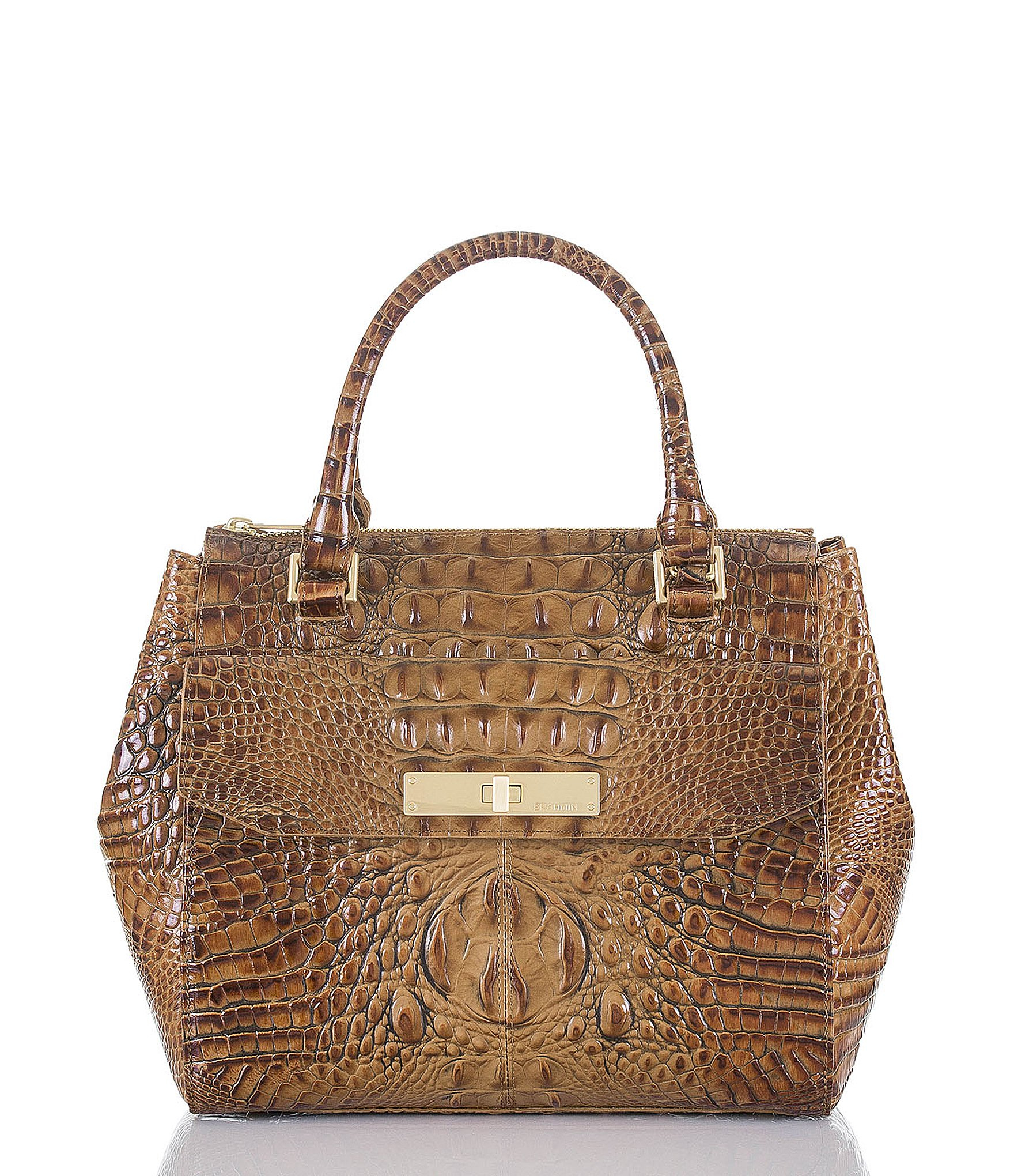 a1914afb28c4 Lyst - Brahmin Toasted Almond Collection Malia Croco Embossed ...