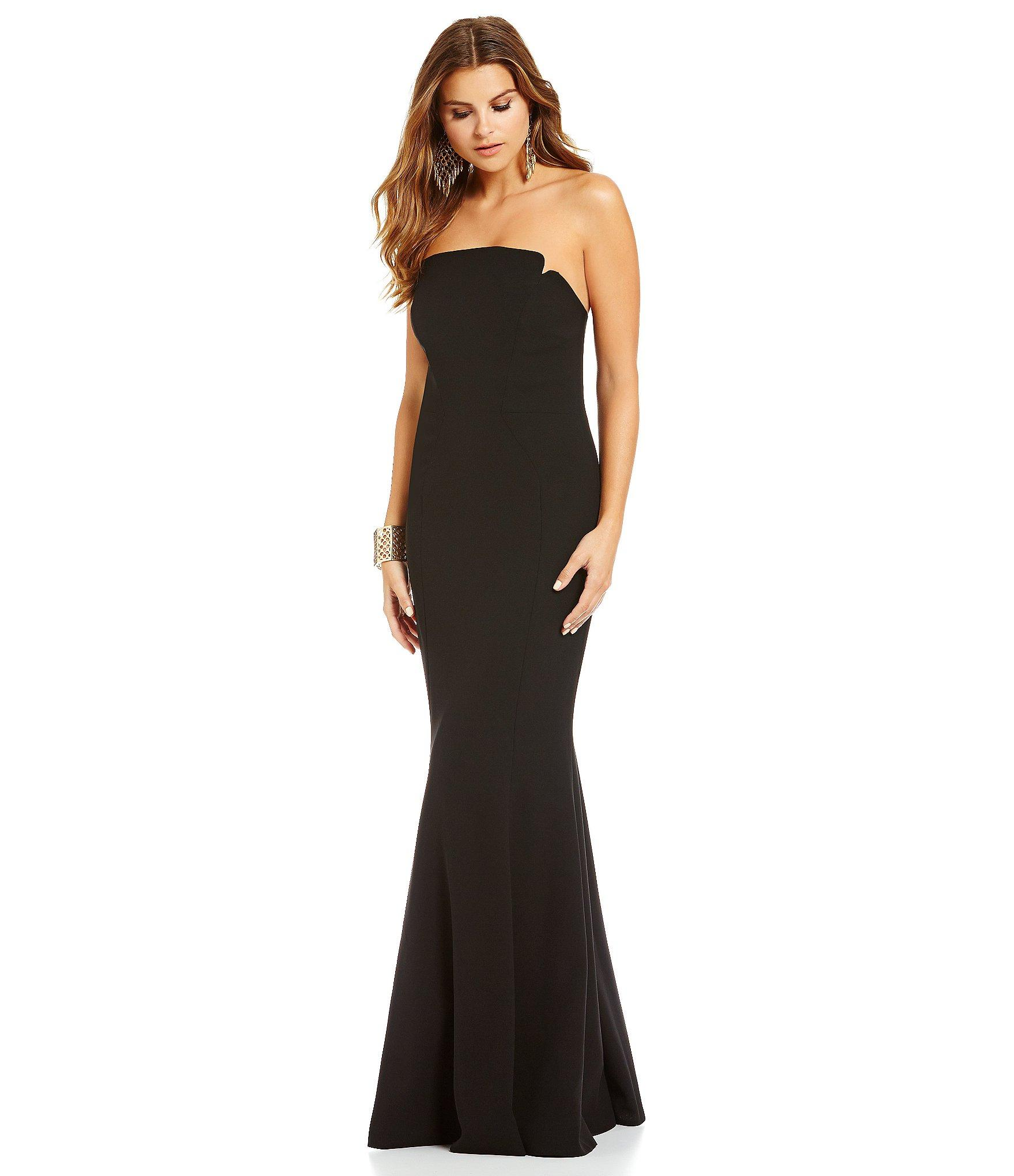 Jill Jill Stuart Long Strapless Fitted Gown In Black