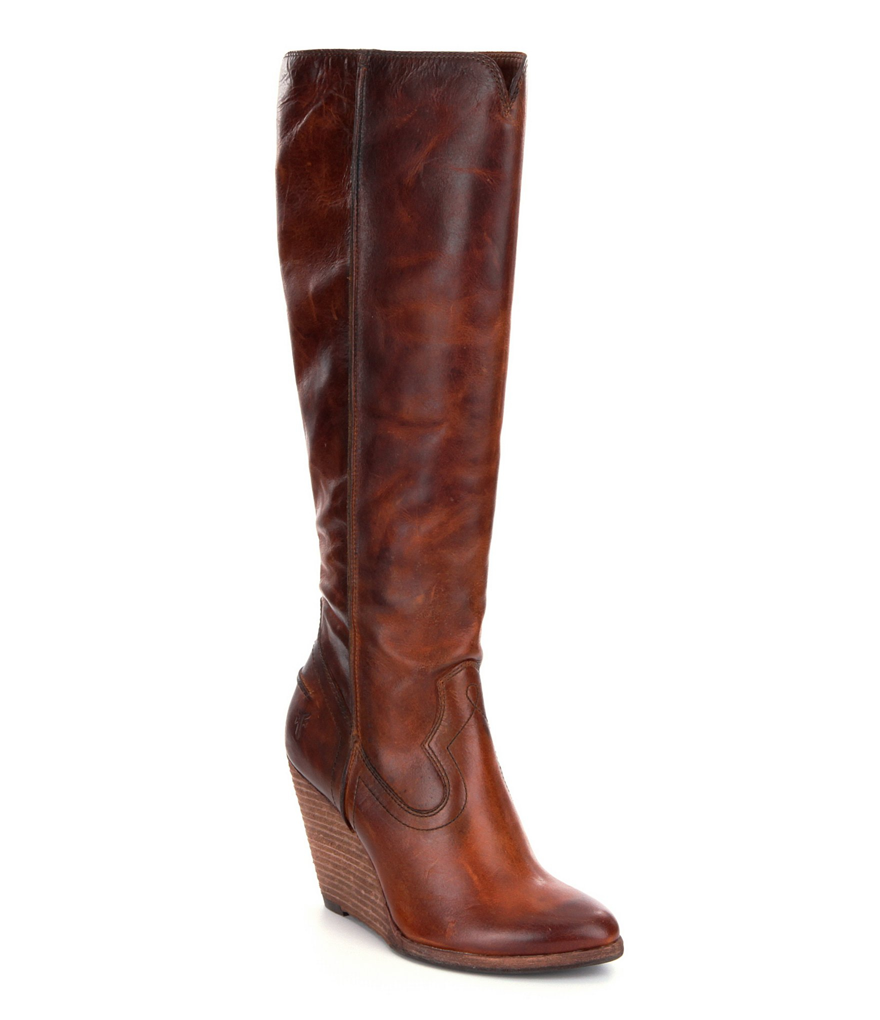 frye cece wedge boots in brown lyst