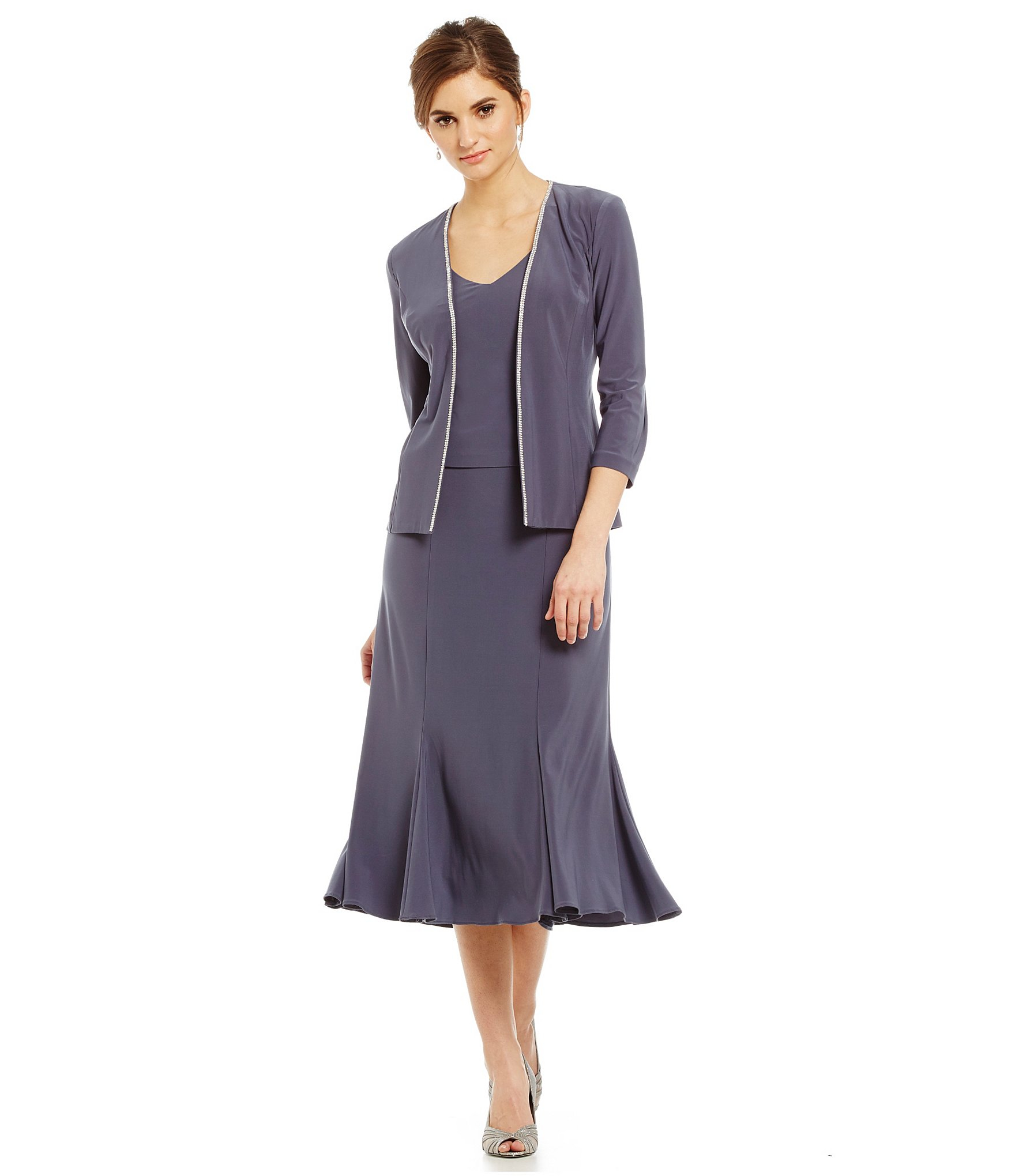 tea length sweater dresses lyst alex evenings tea length jacket dress in blue 947