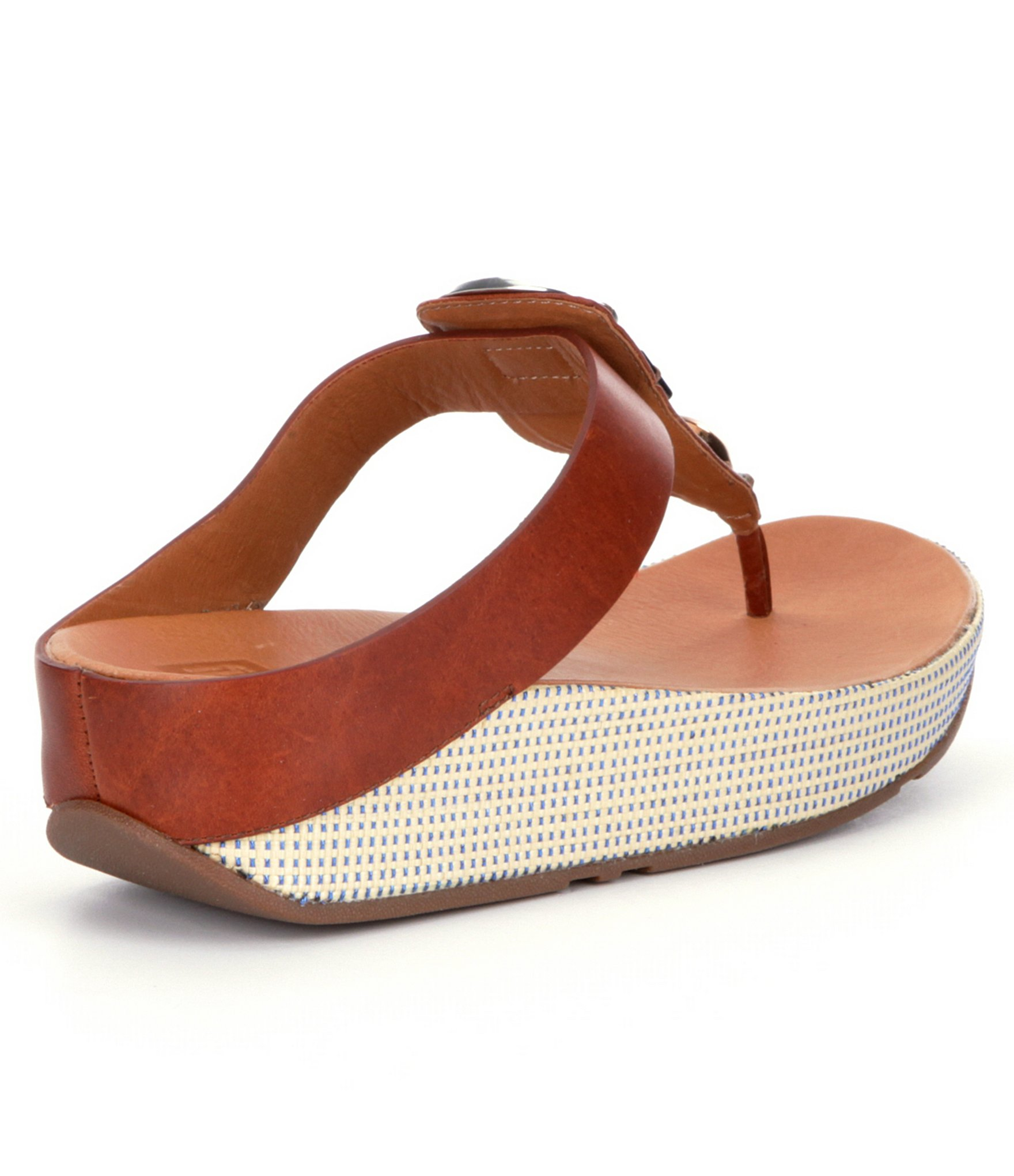 Fitflop Jeweley Leather Jeweled Toe Post Thong Sandals In