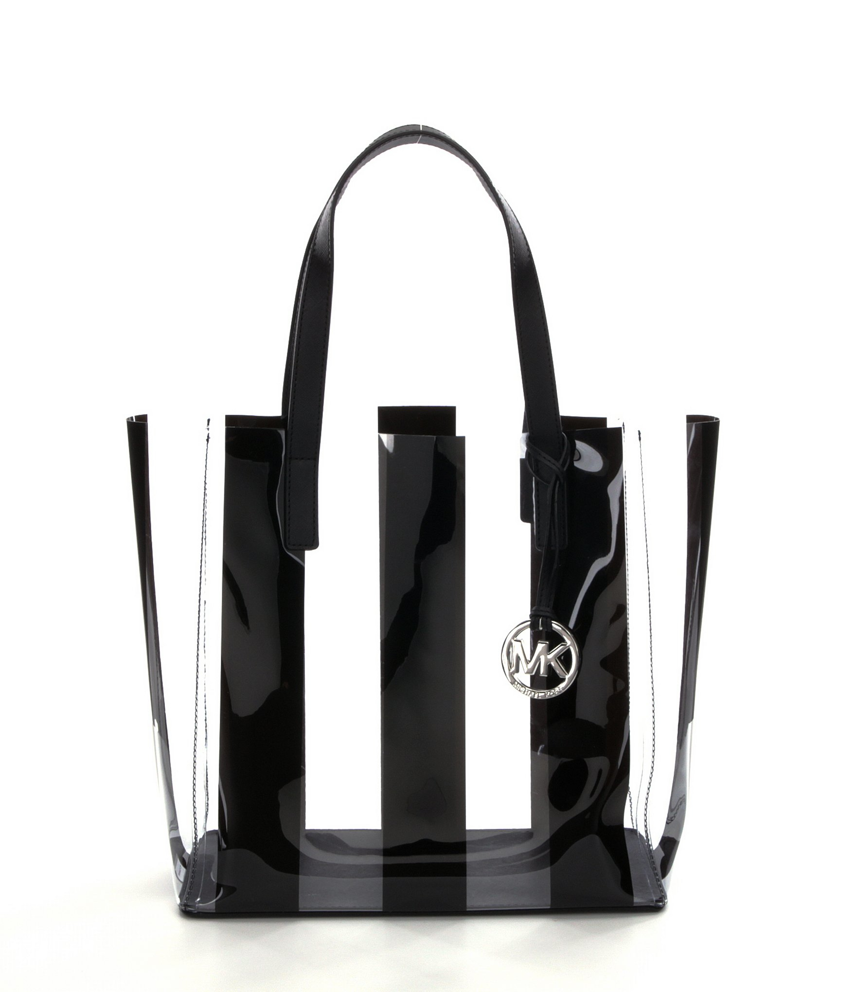 37089a58bb1f ... large leather tote lyst 5496c e49cd; clearance lyst michael michael kors  eliza striped medium beach tote in black a8756 1398d