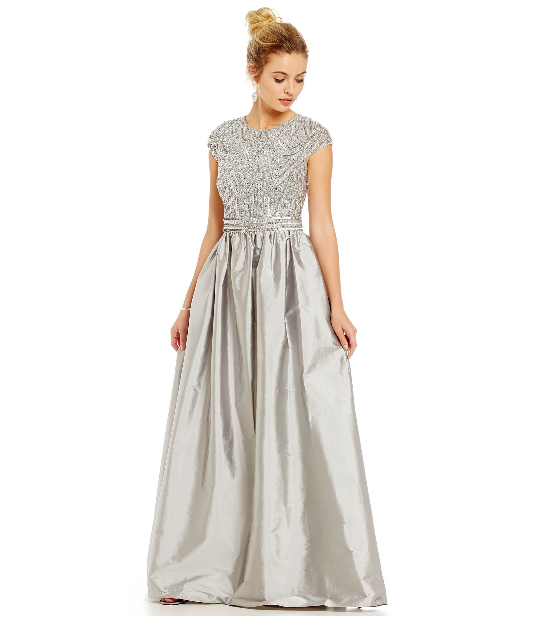 6e4a618c21628f Adrianna Papell Beaded Bodice Taffeta Skirt Ballgown in Gray - Lyst