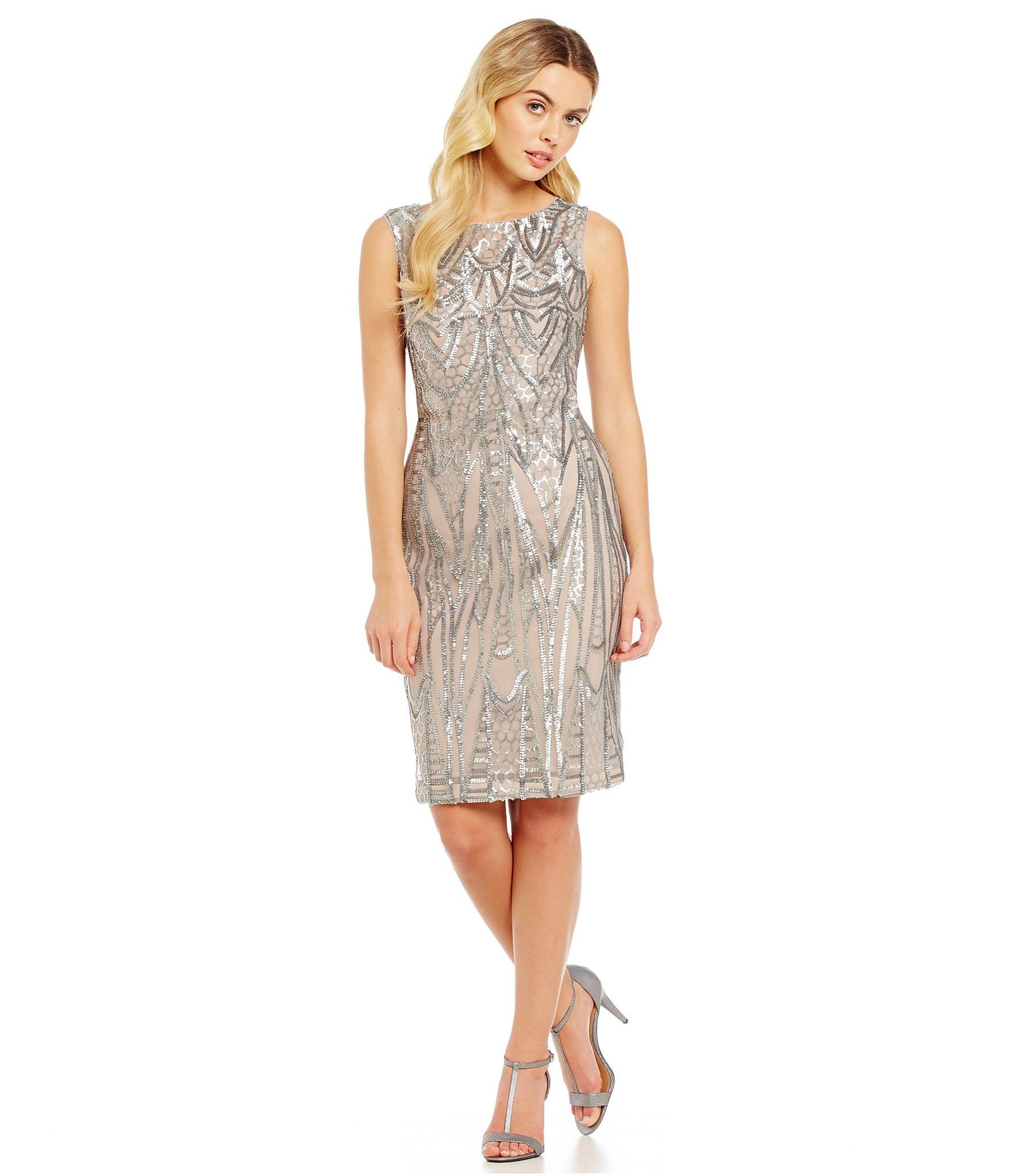 Calvin Klein Art Deco Sequin Cocktail Dress In Gray Lyst