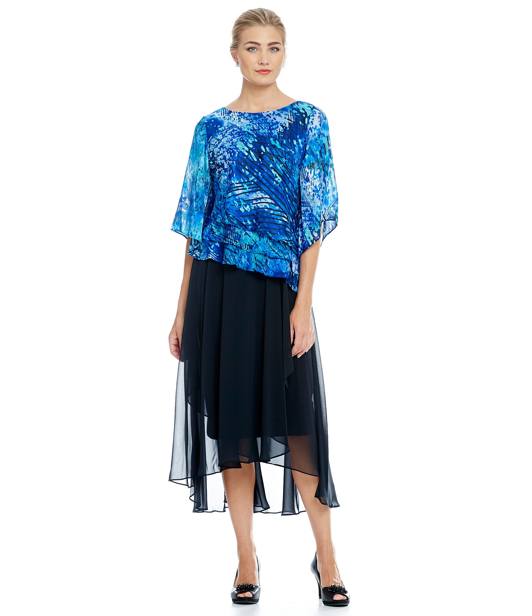 Alex evenings Printed Tiered Blouse in Blue