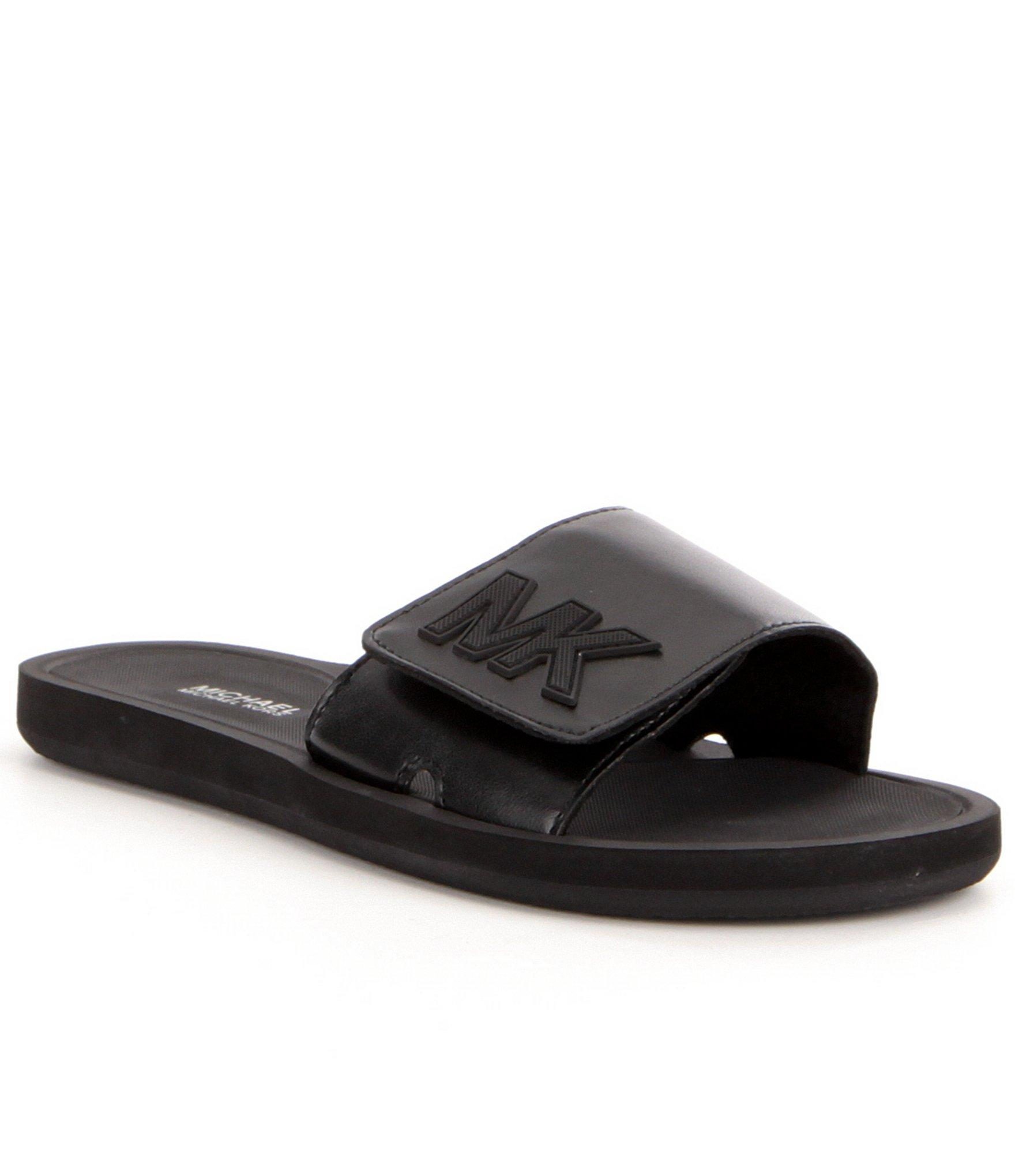 Michael Michael Kors Mk Glitter Slide On Sandals In Black