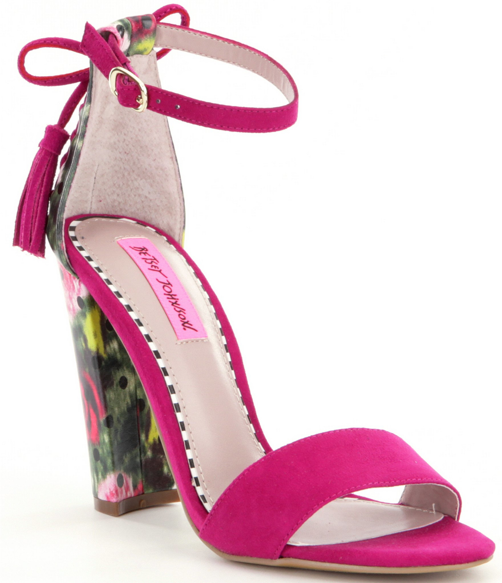 Betsey Johnson Rallo Floral Suede Block Heel Sandals In