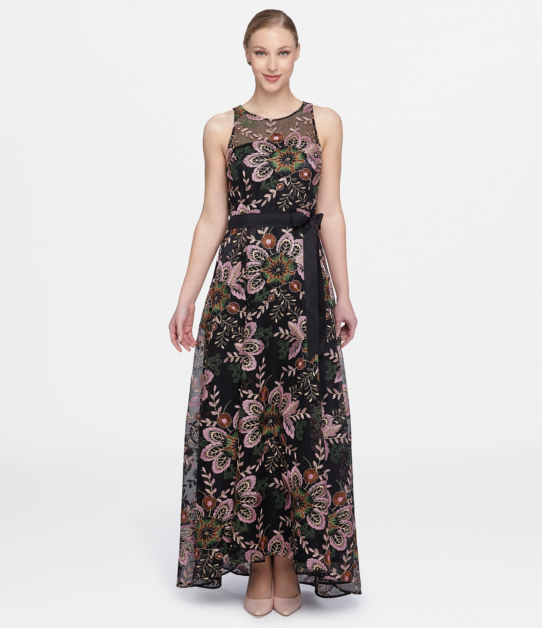 Lyst - Tahari Floral Embroidered A-line Gown in Black