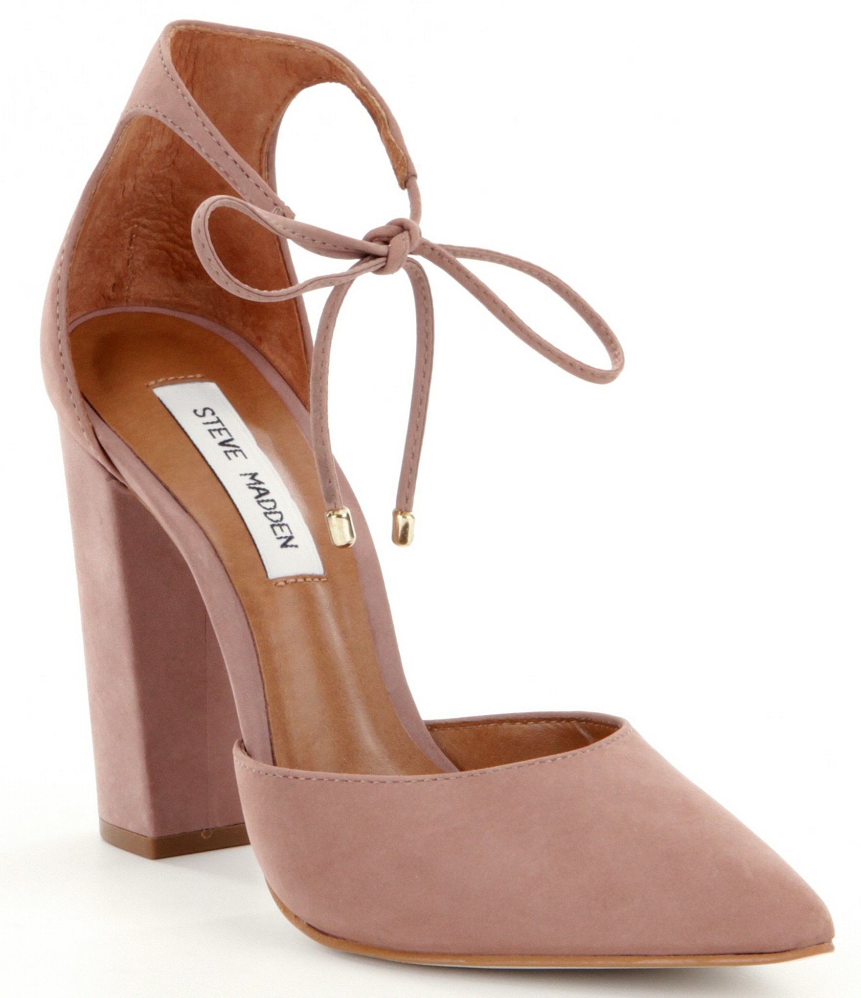 c2ffdfcb752 Lyst - Steve Madden Pampered Pointed-toe Tie Closure Pumps in Pink