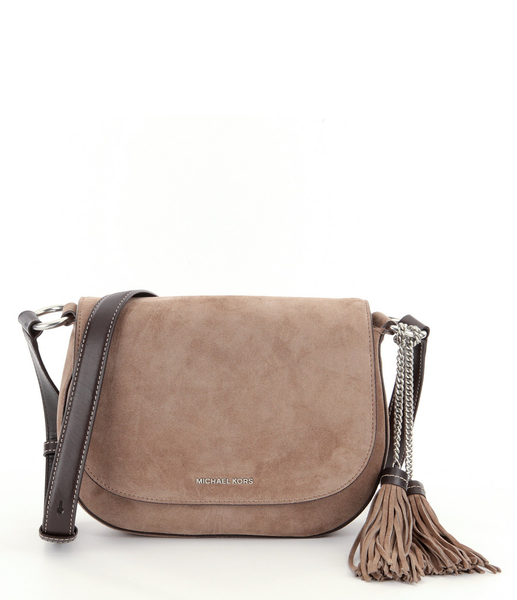 c9c6a7ad92237 MICHAEL Michael Kors Elyse Large Suede Saddle Bag in Brown - Lyst