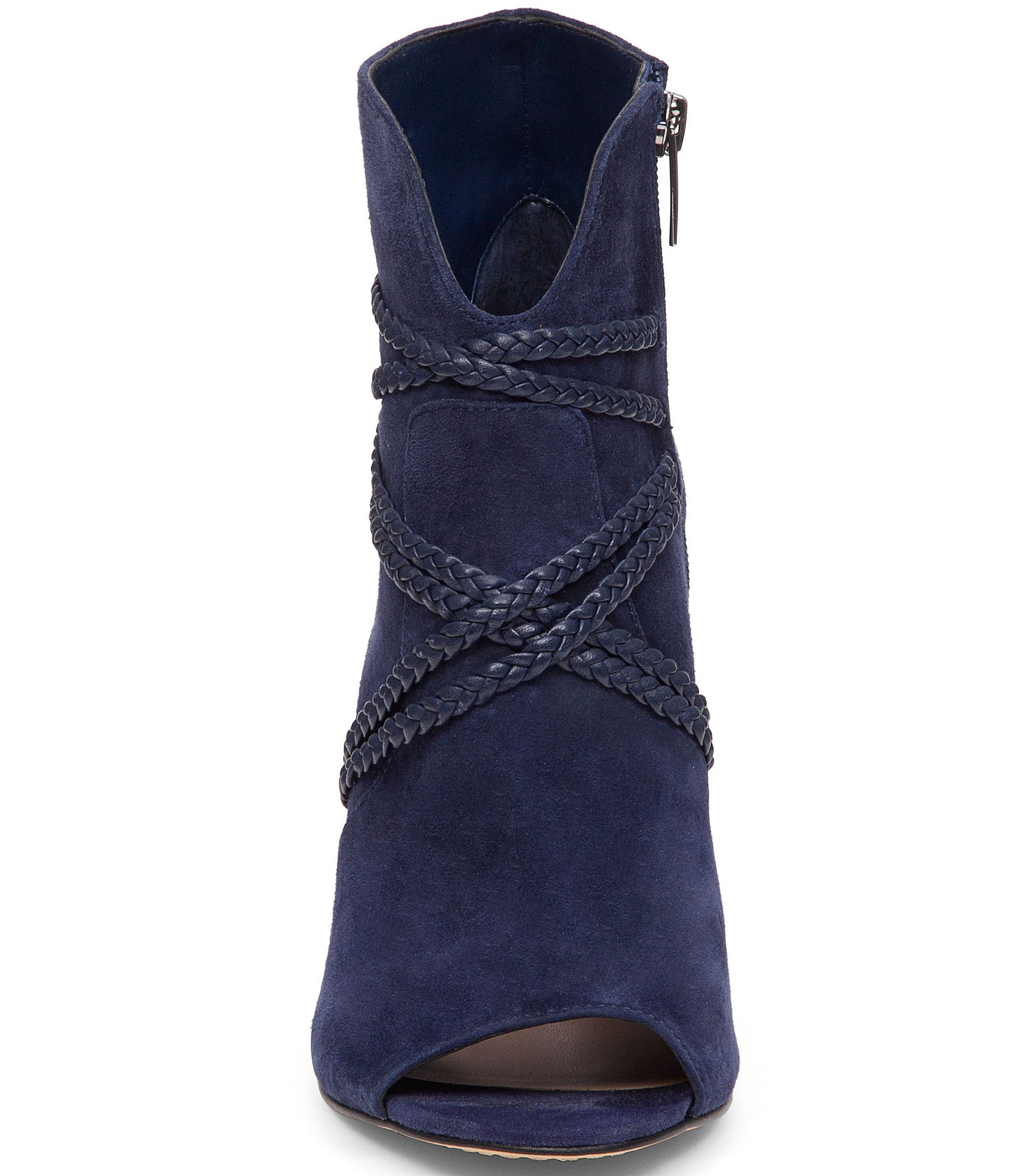 Vince camuto Astan Suede Open-toe Booties in Blue | Lyst