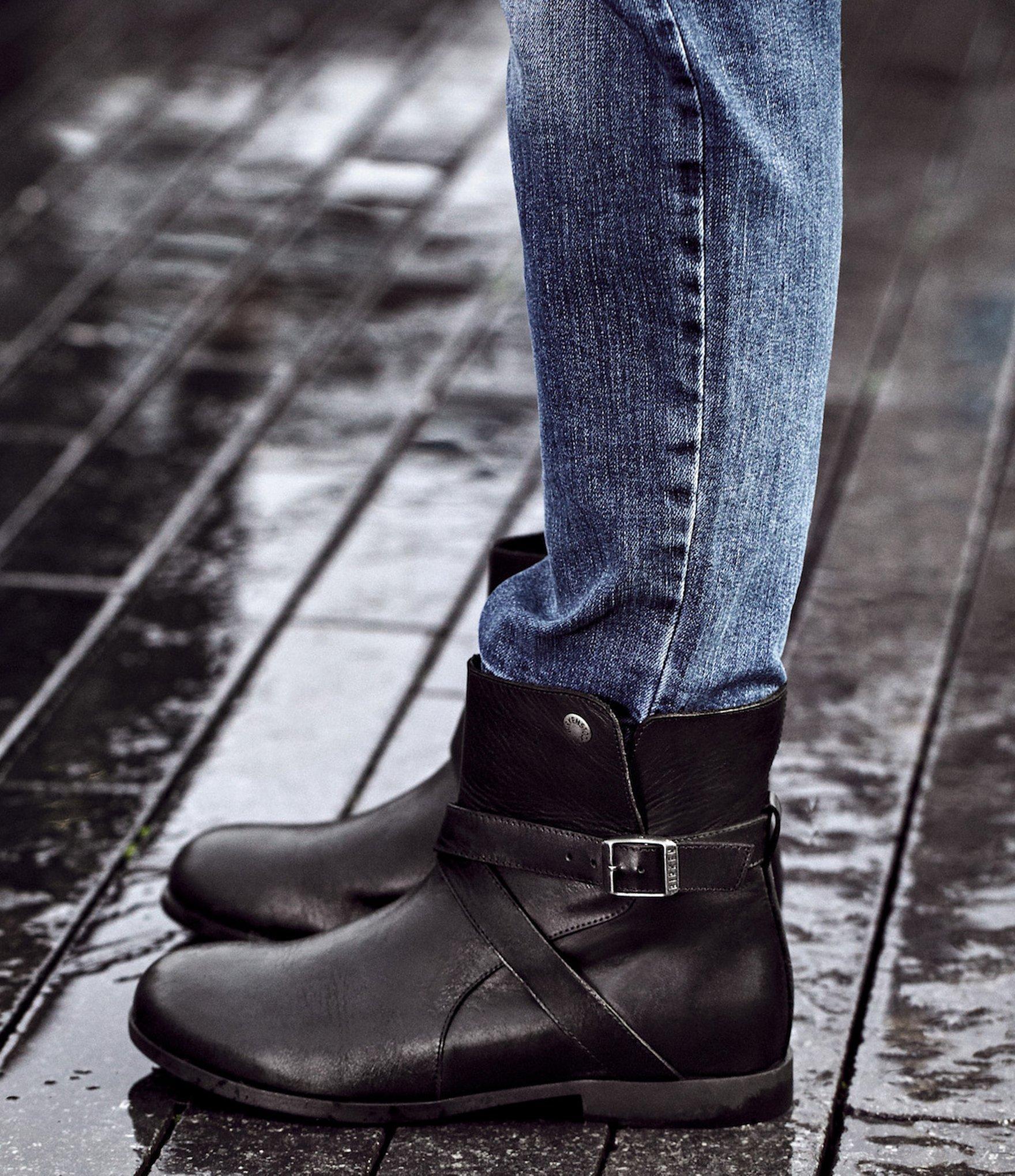 159da3e4deb Lyst - Birkenstock Collins Leather Strap   Buckle Detail Ankle Boots ...