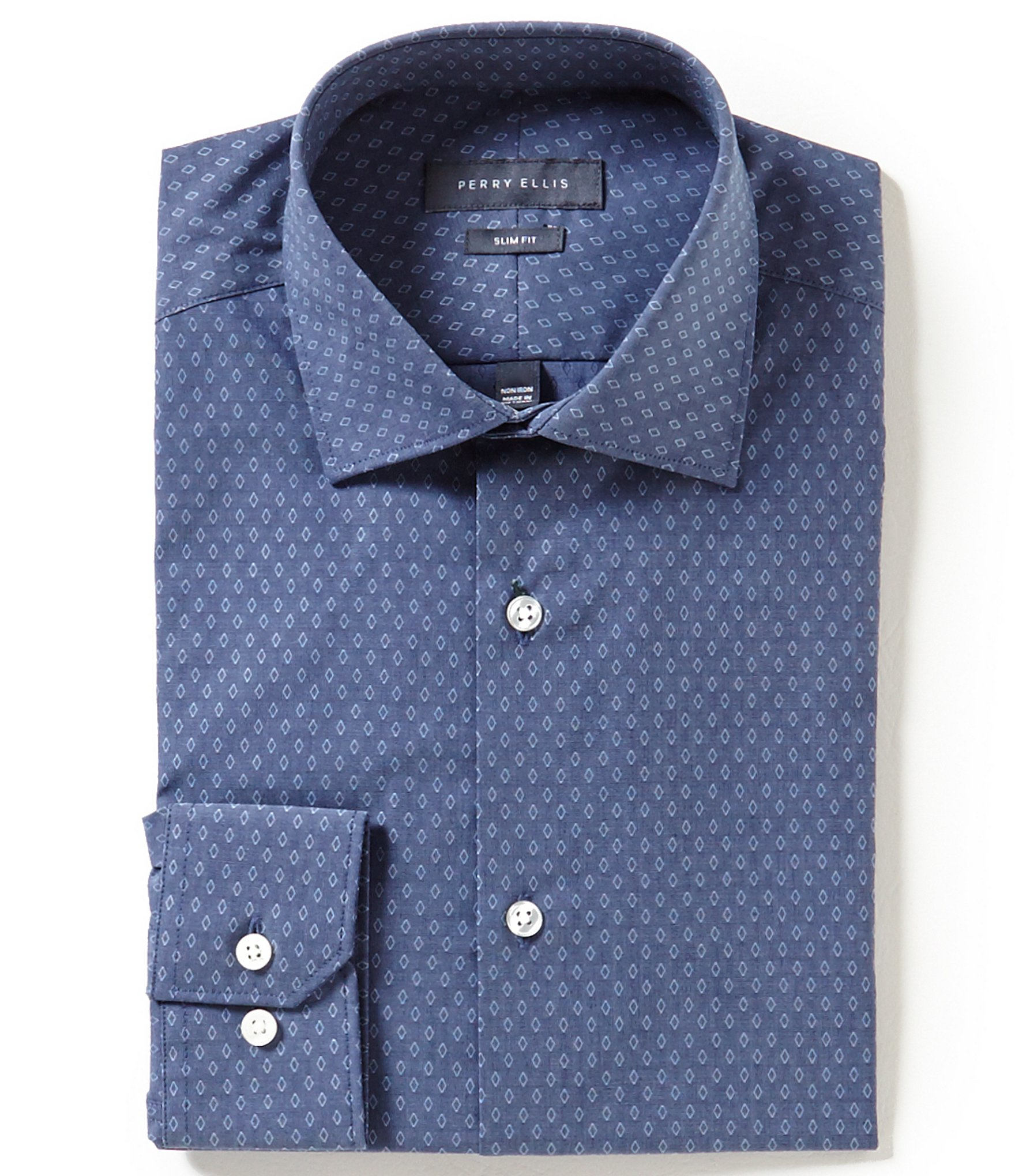 Perry ellis non iron slim fit spread collar denim dobby for 20 34 35 dress shirts