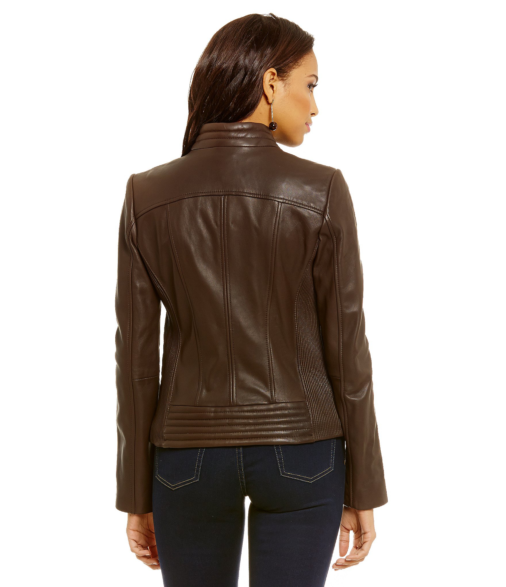 michael michael kors leather moto jacket in brown lyst. Black Bedroom Furniture Sets. Home Design Ideas