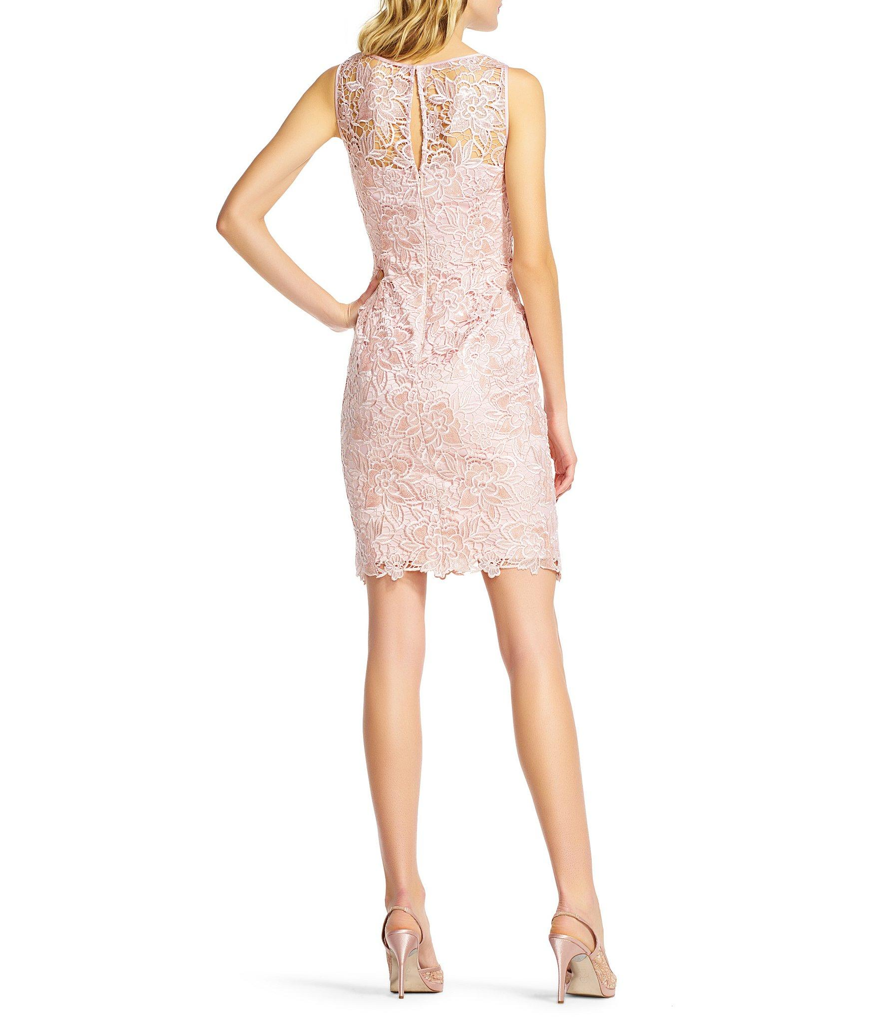 ADRIANNA PAPELL Womens Red Beaded Sleeveless Asymetrical Neckline Knee Length Sheath Evening Dress Size: 6 ADRIANNA PAPELL. Lace Sleeveless .