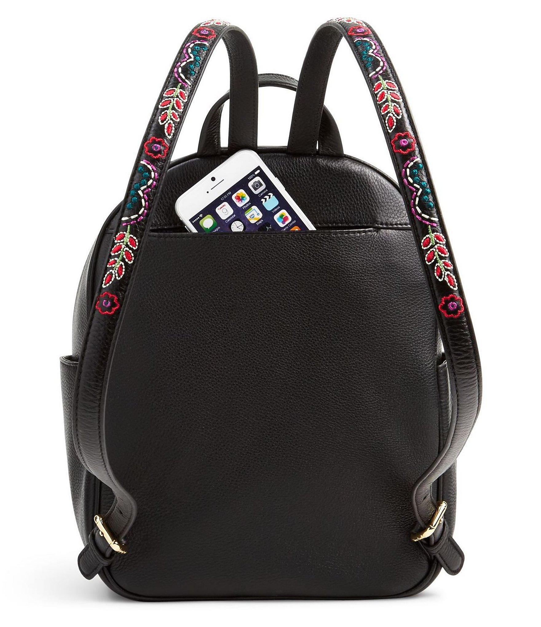 Vera Bradley Leighton Floral Embroidered Backpack In Black