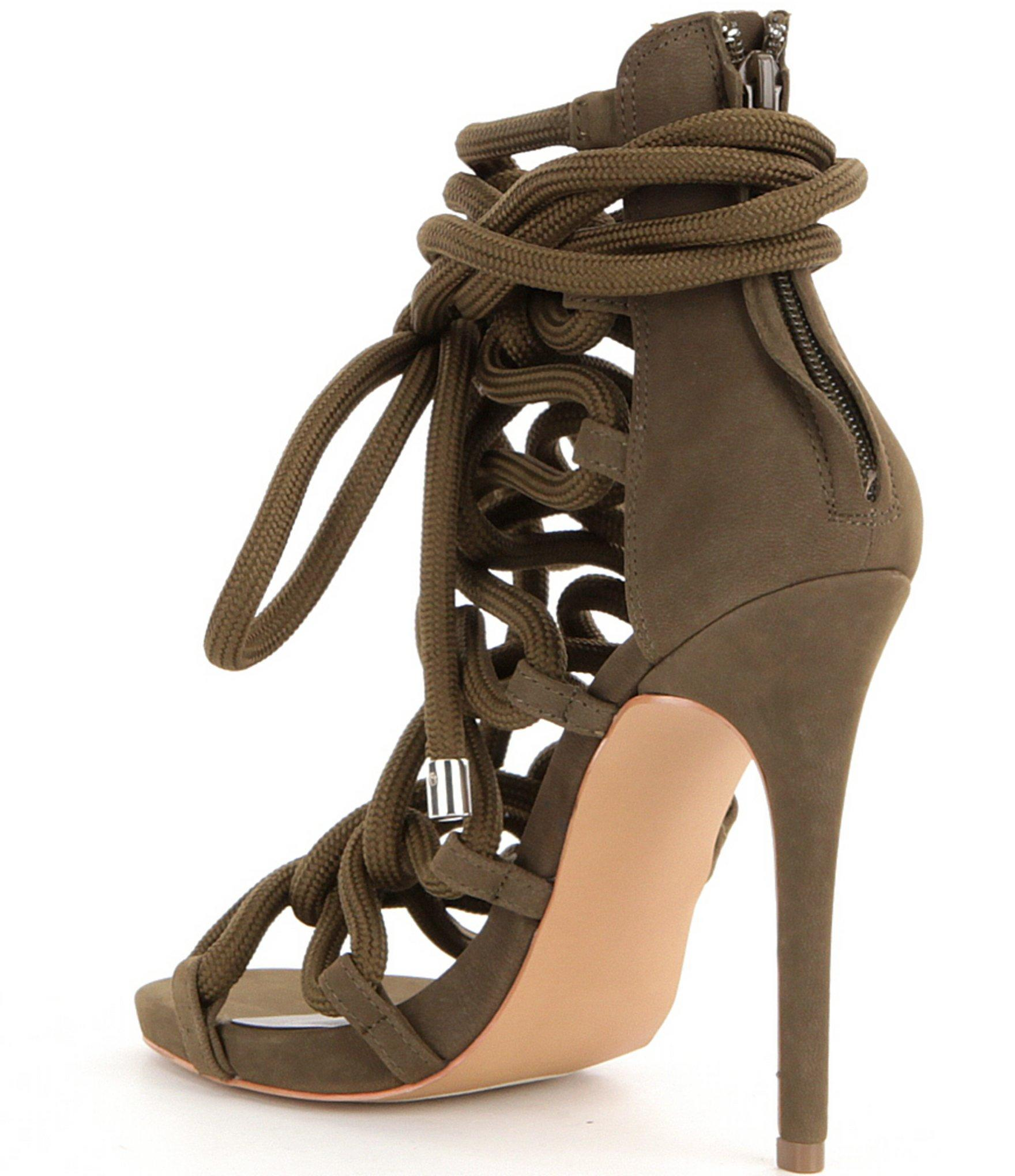 5e0543f9ae1e9 Steve Madden Dancin Back Zip Bungee Inspired Lace-up High Heel Dress  Sandals in Green - Lyst