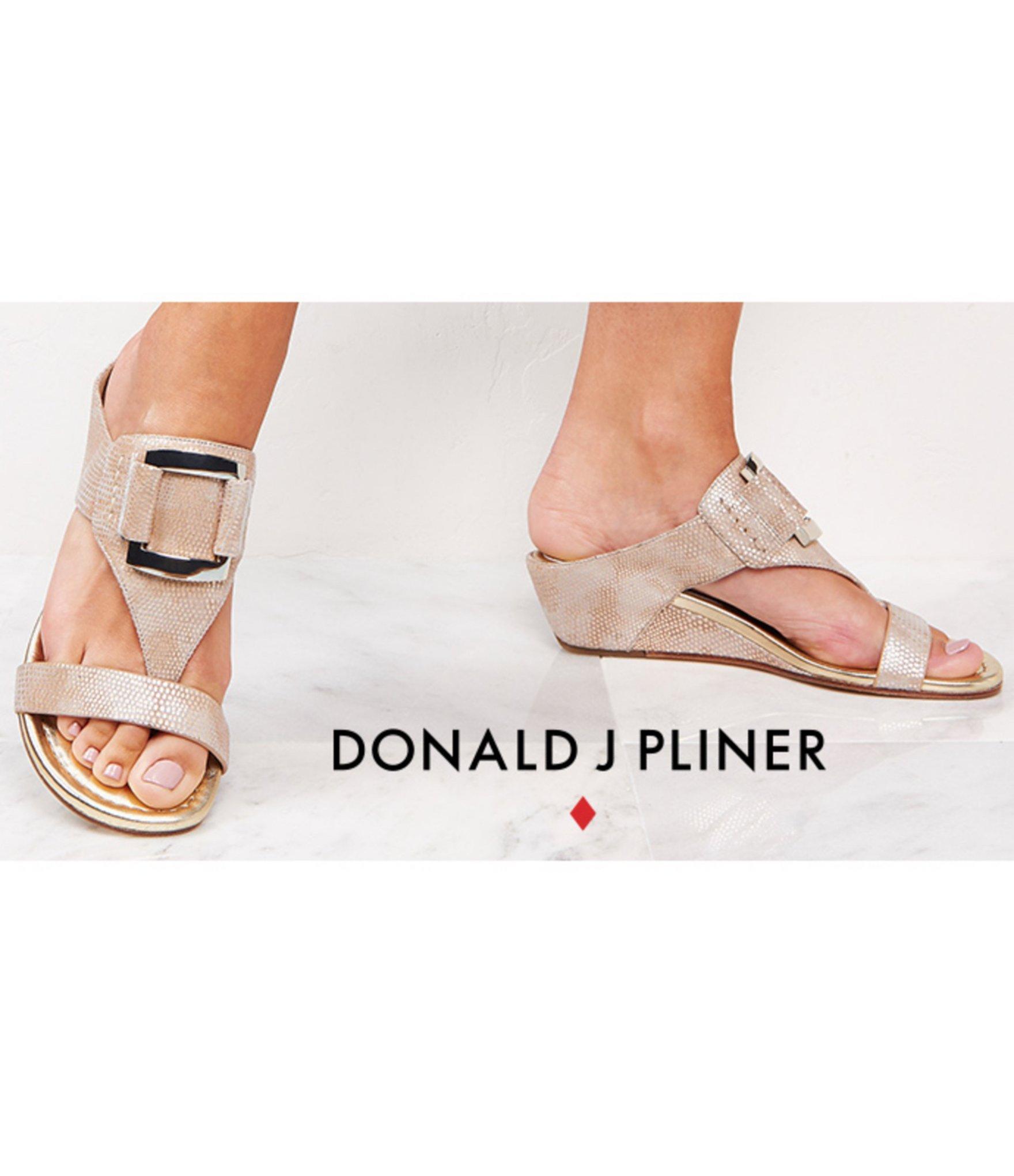 Donald J Pliner Daun Metallic Leather Lizard Print Wedge